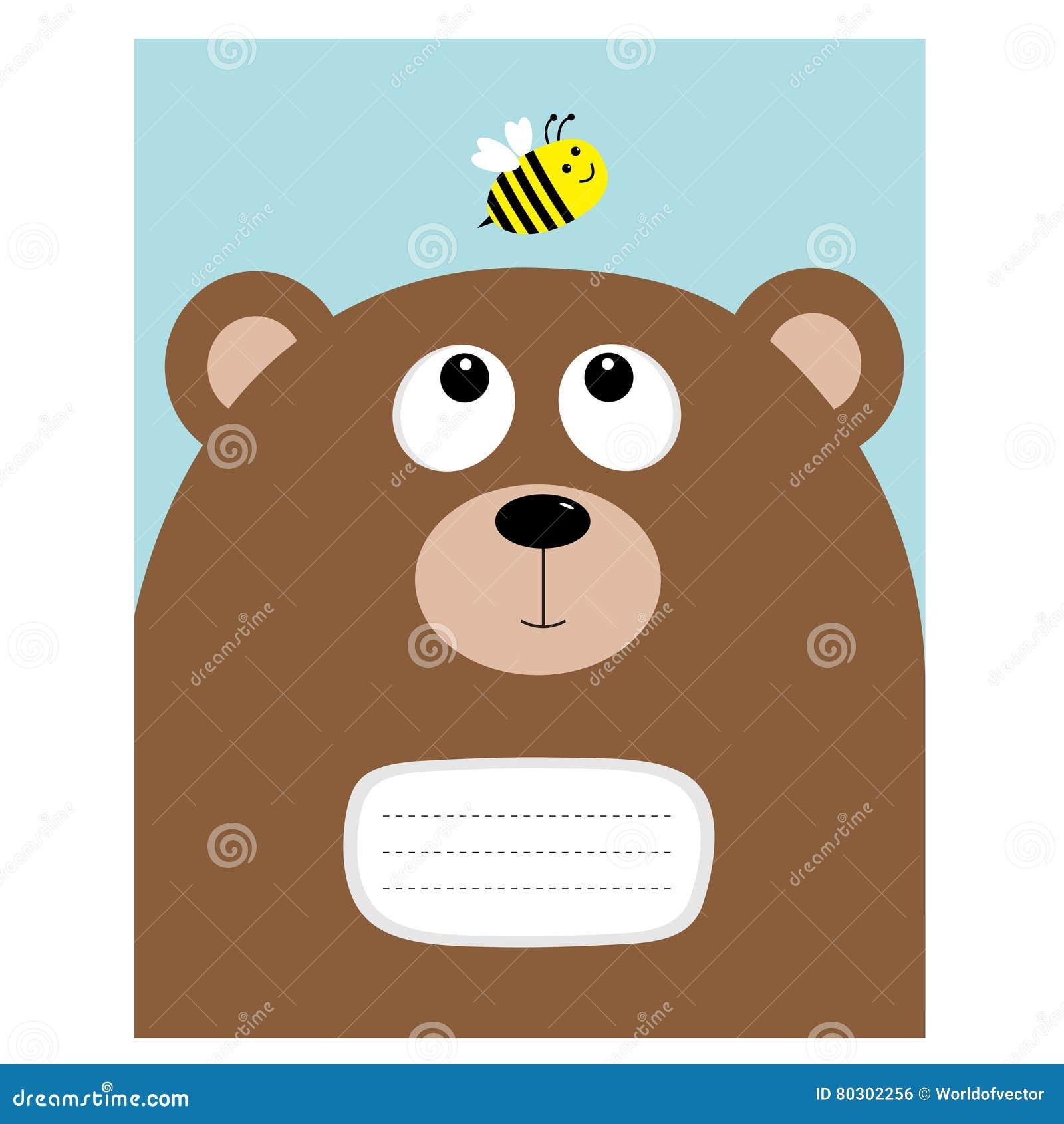 笔记本盖子构成书模板 负担看蜂蜜蜂昆虫的北美灰熊大头 逗人喜爱的漫画人物 森林婴孩a