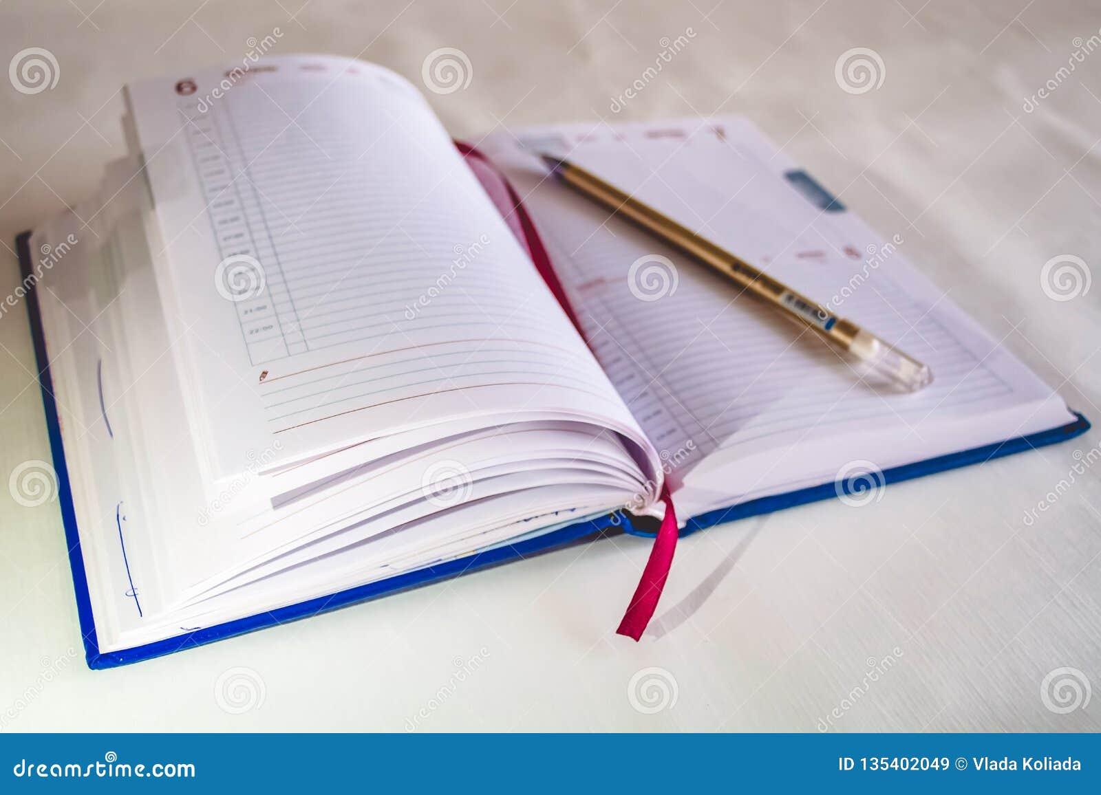 笔记的一个笔记本 与书签的书 圆珠笔
