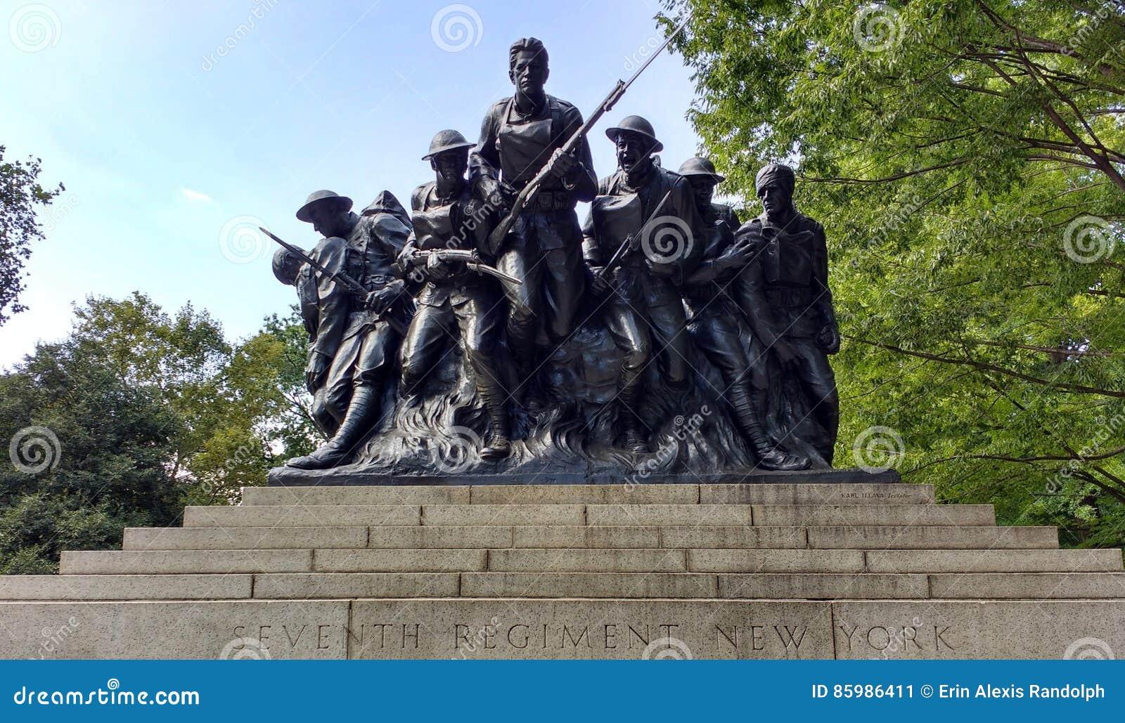 第一次世界大战战士,一百份第七份步兵纪念品,中央公园,纽约, NYC, NY,美国