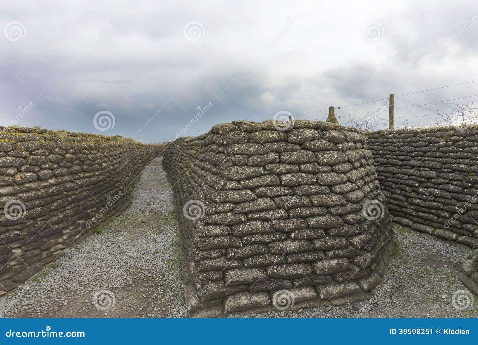 第一次世界大战沟槽在富兰德,在迪克斯梅德附近。