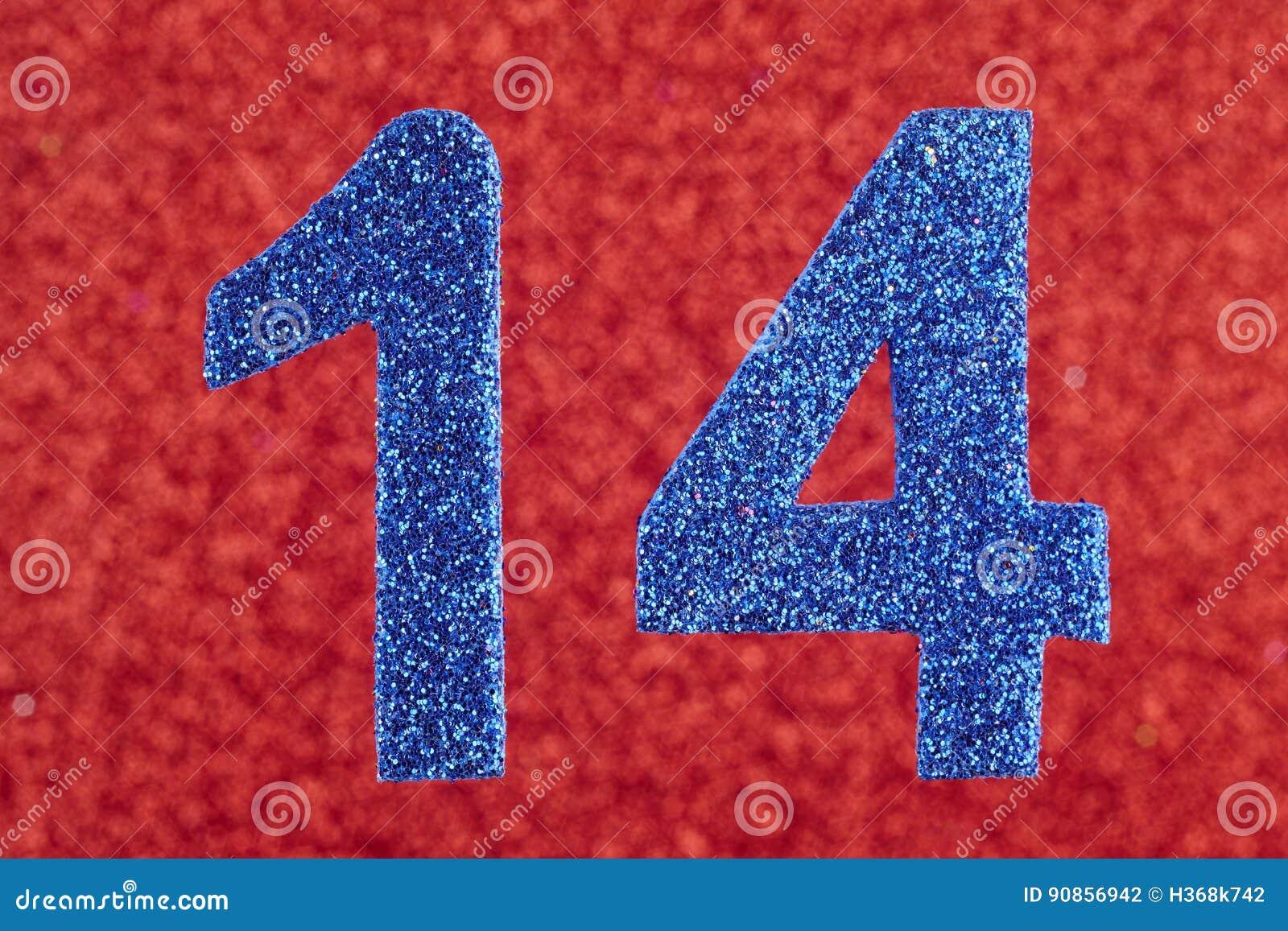 第在红色背景的十四种蓝色颜色 附注