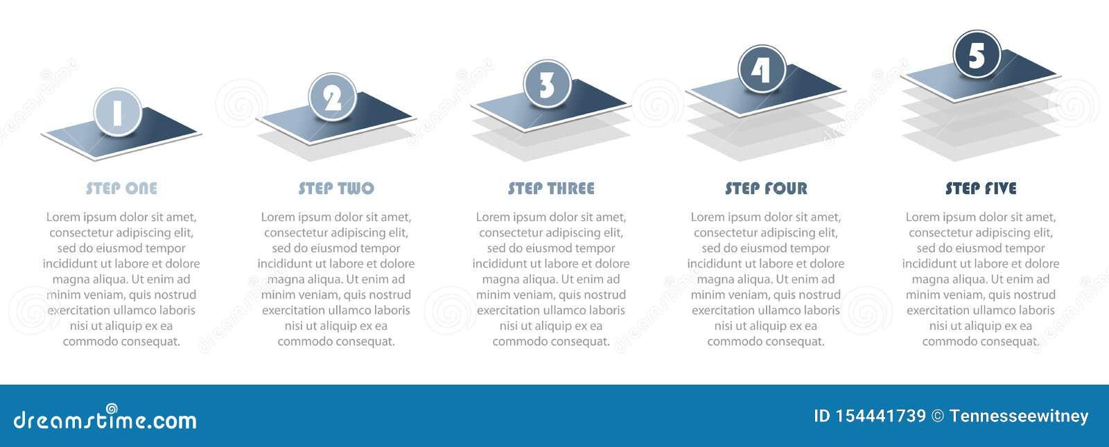 第第5步infographic例证陈列项目进展信息图表