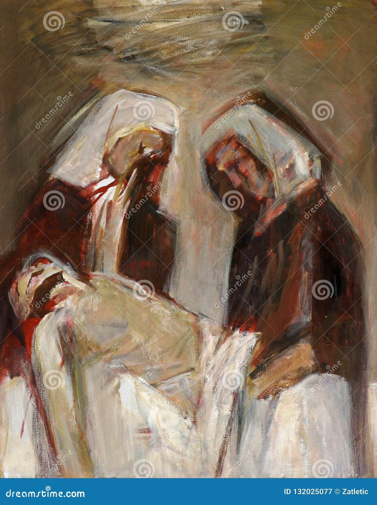 第14个苦路,耶稣在坟茔在香火被放置并且被盖