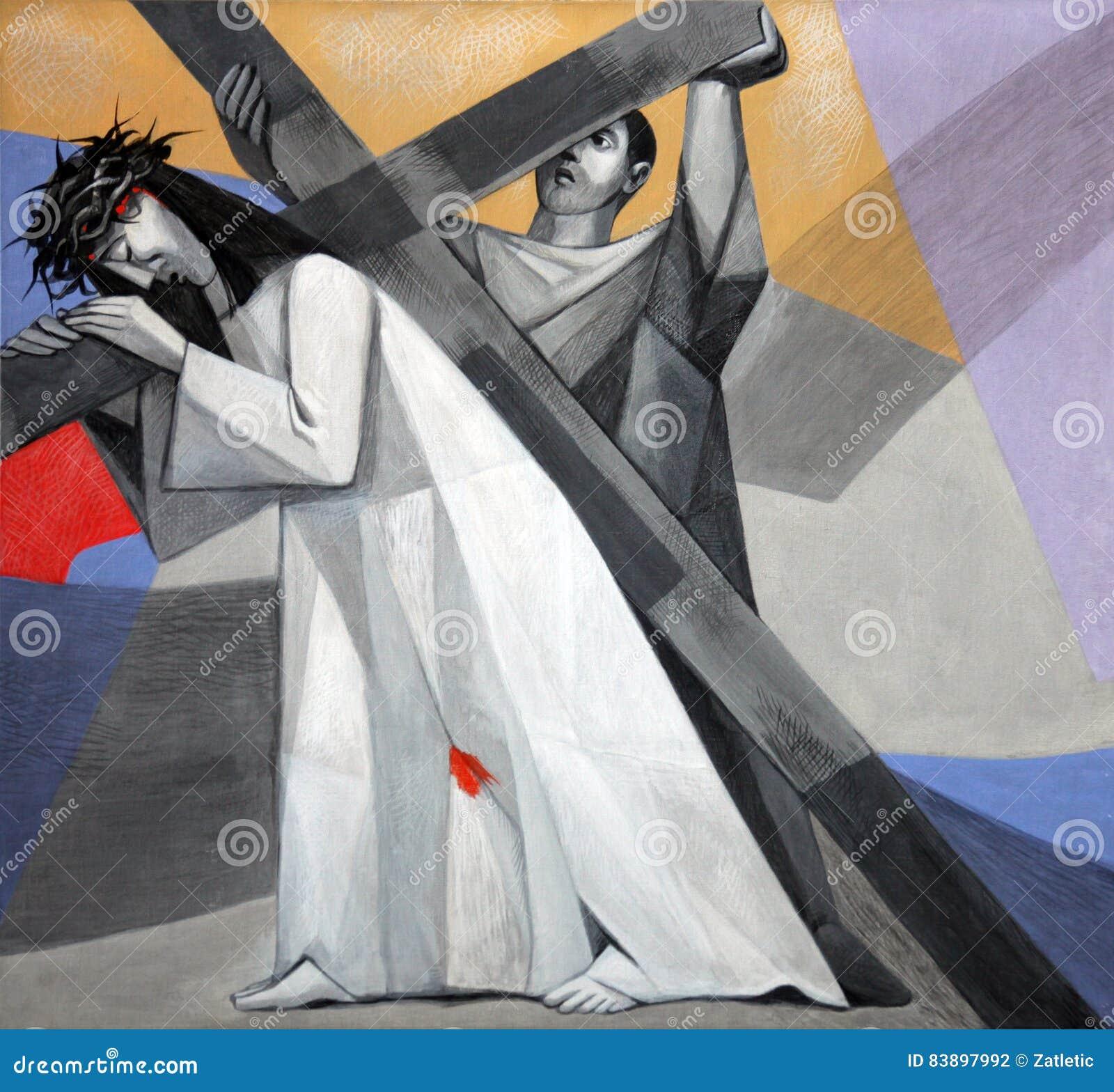 第5个苦路, Cyrene的西蒙运载十字架