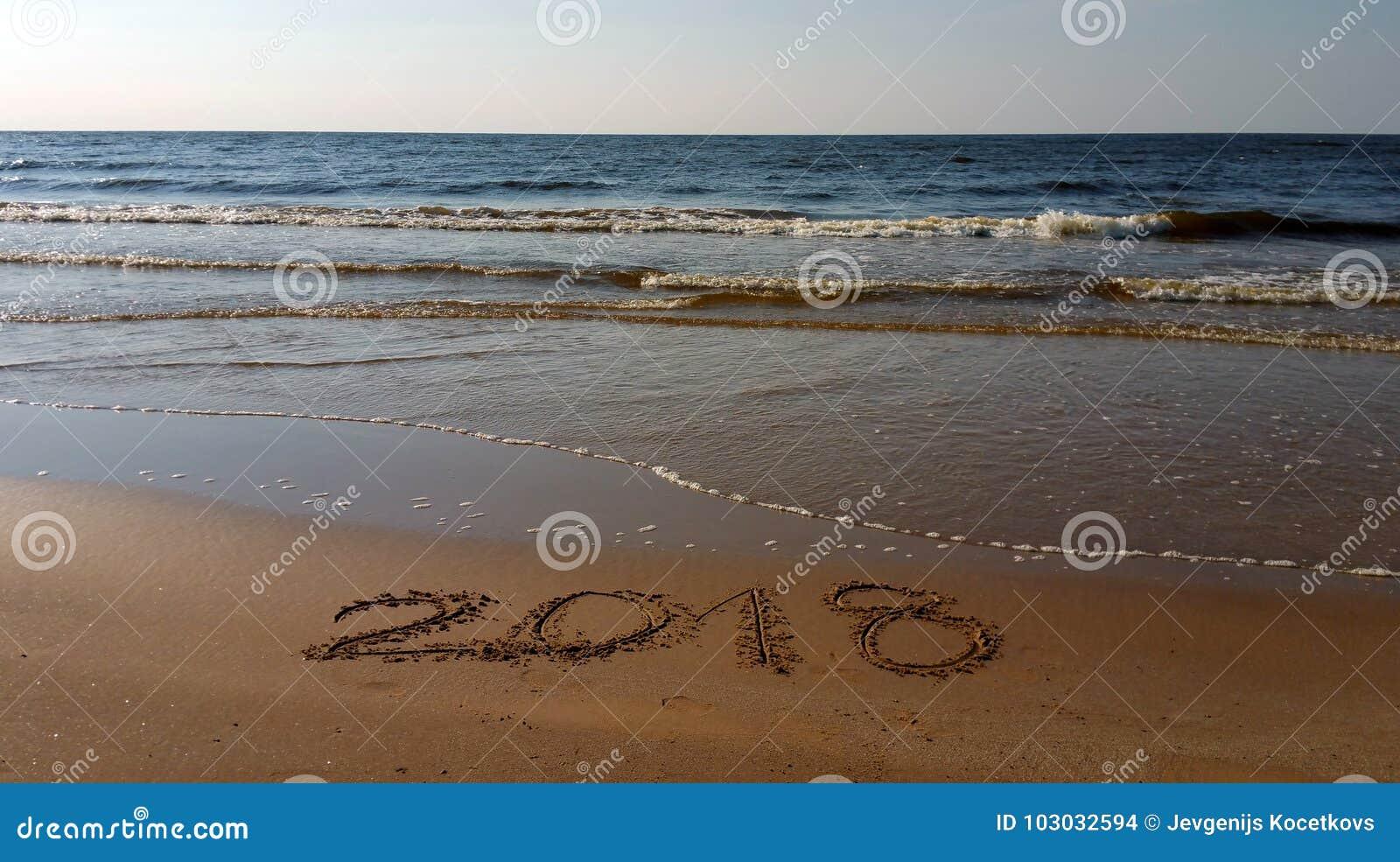 第2018拉长在海滩