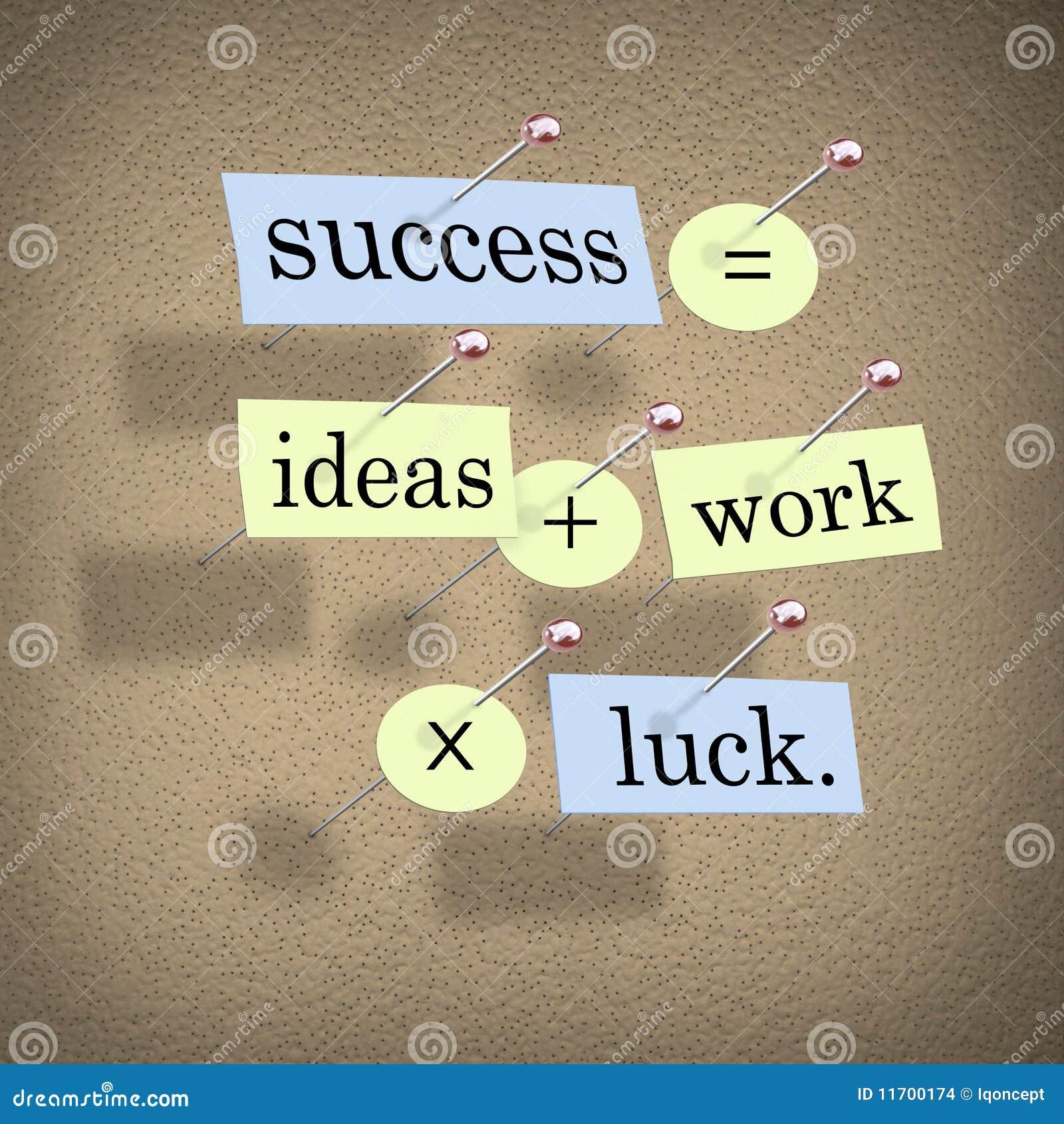 等于想法运气加上乘工作的成功