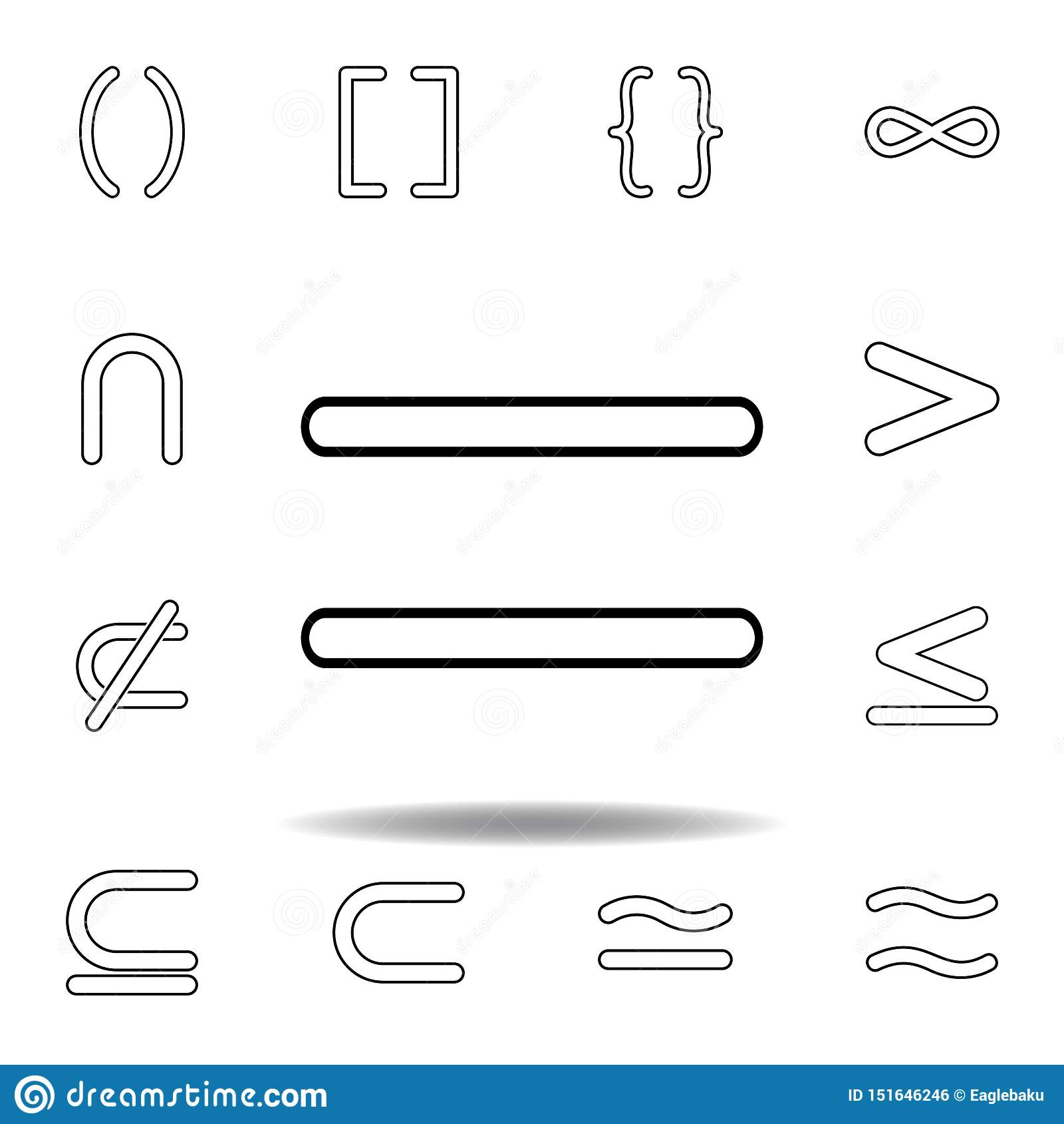 等号 稀薄的线为网站设计和发展设置的象,应用程序发展 r