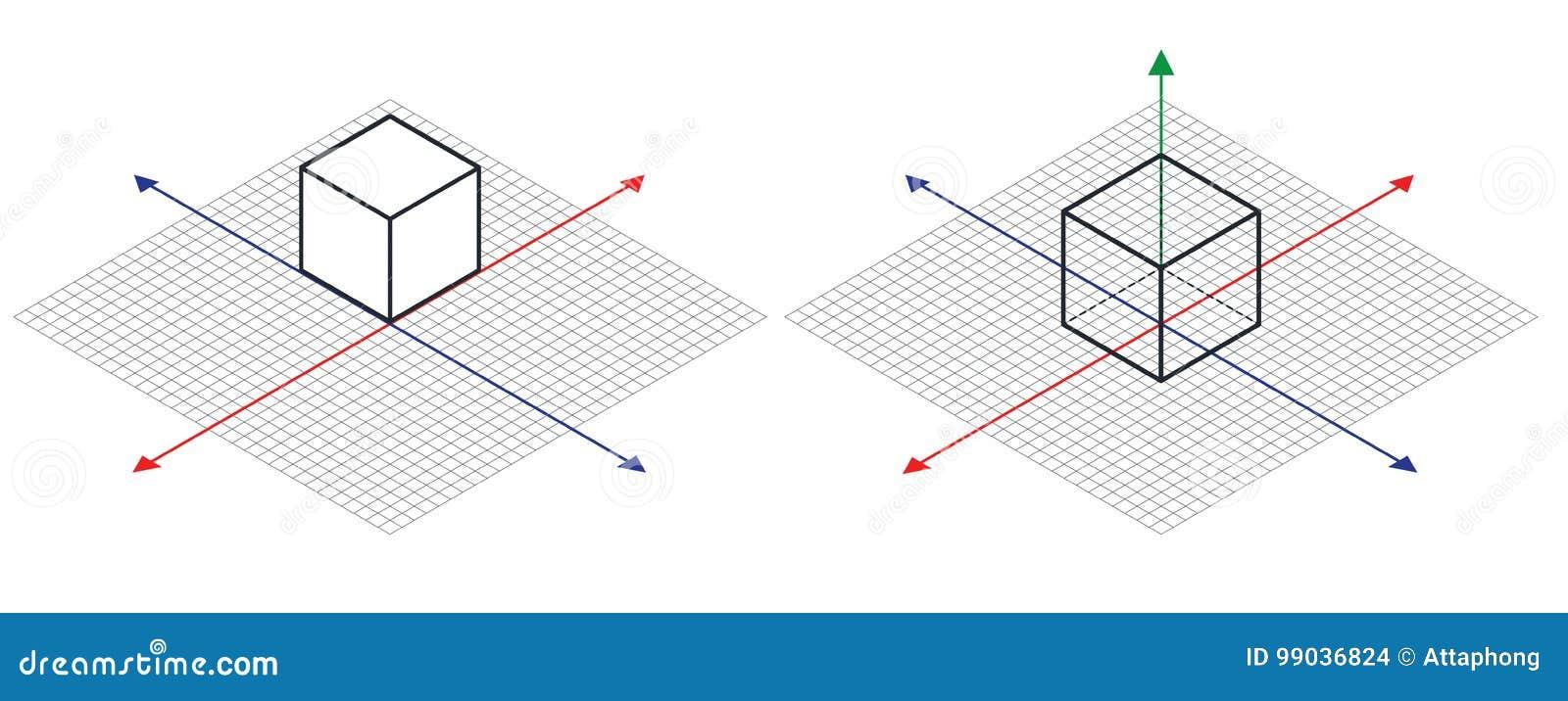 等角图三十degreesangle被应用于它的边 立方体在对面 等量栅格传染媒介