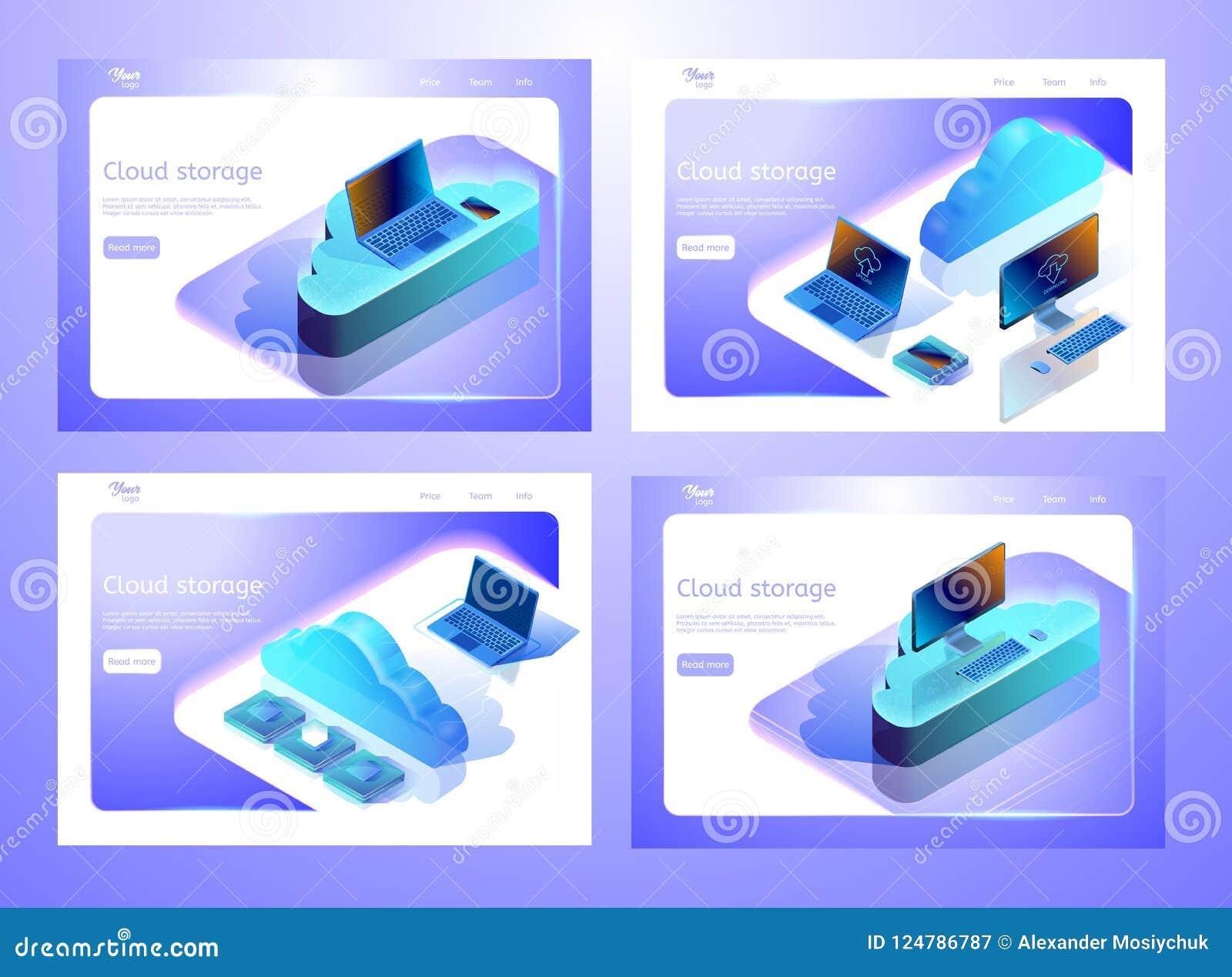等量云彩数据存储例证的汇集 套网页模板 抽象设计观念