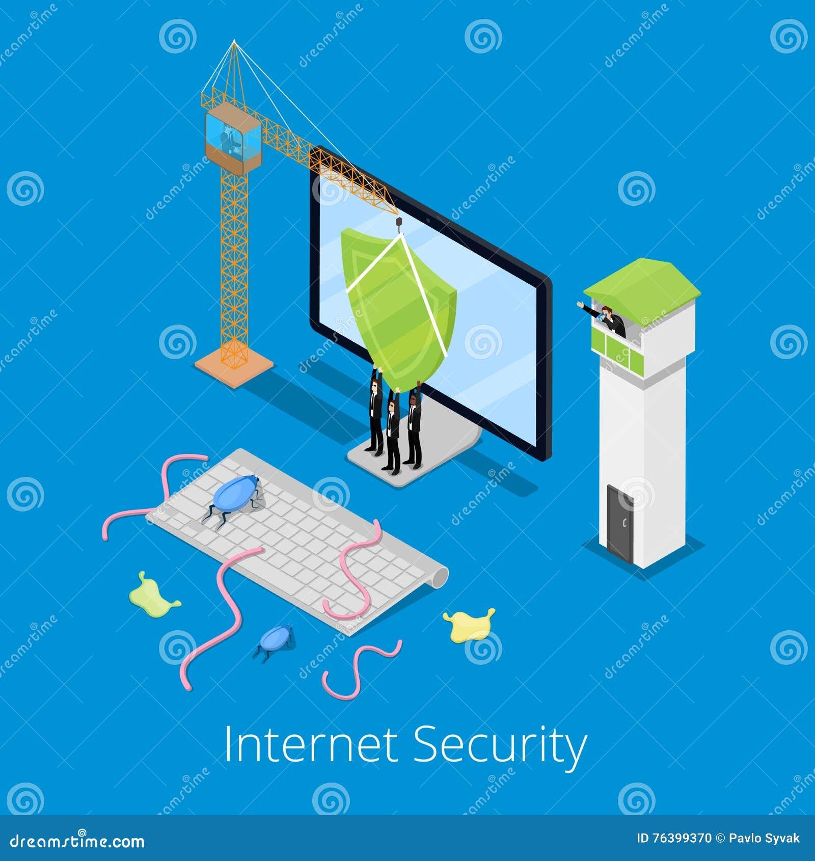 等量互联网安全和数据保护概念与盾保卫的计算机从病毒