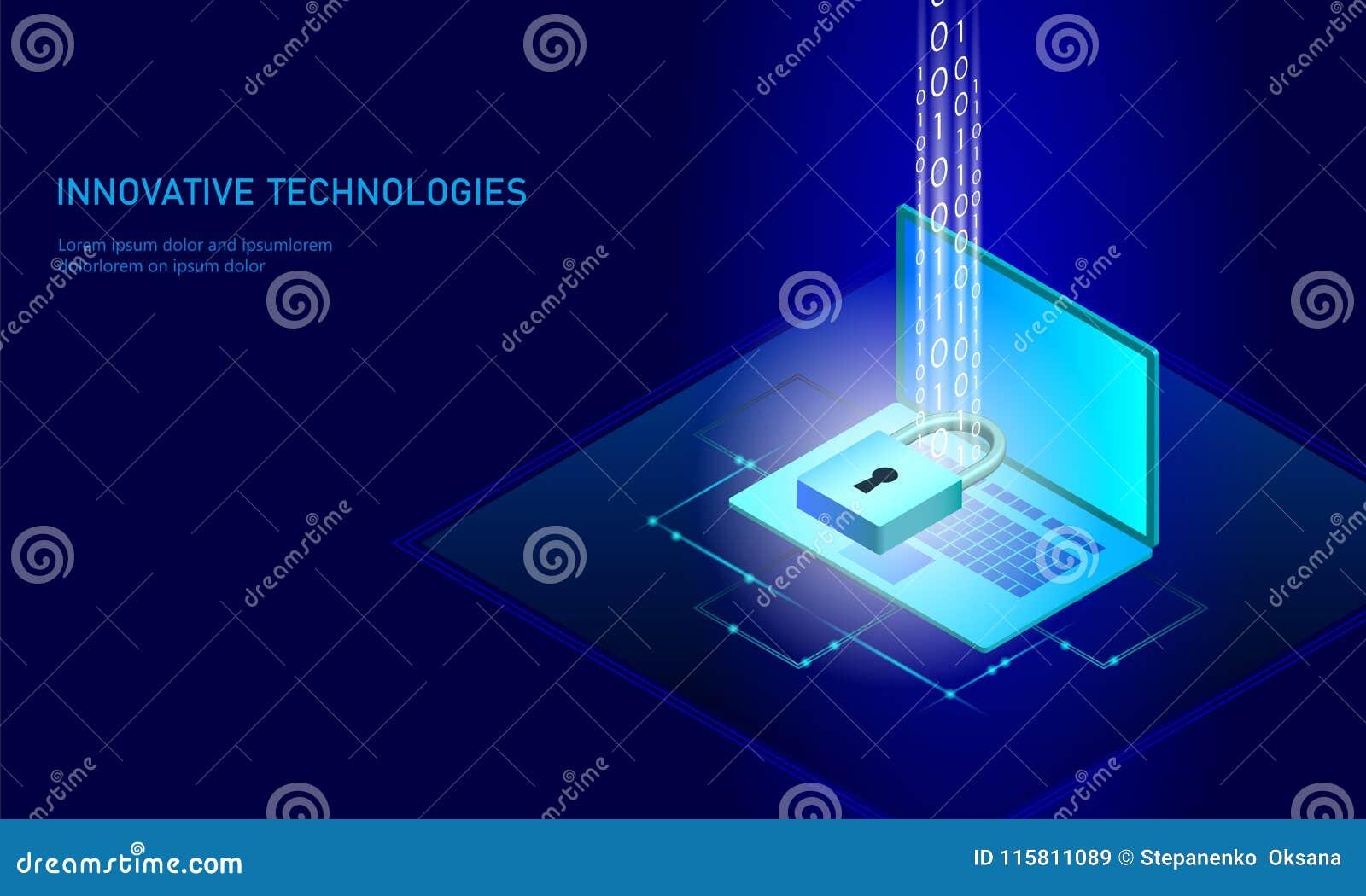 等量互联网安全锁企业概念 蓝色发光的等量个人信息数据连接个人计算机