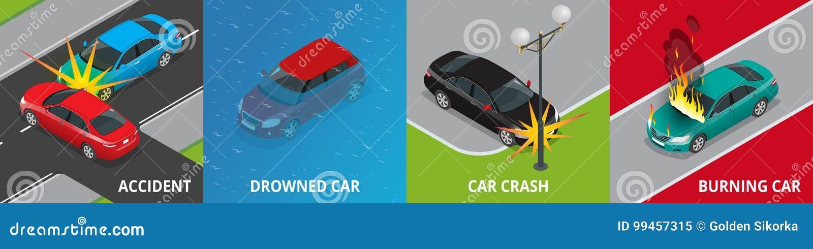 等量公路事故,被淹没的汽车,车祸,灼烧的汽车概念