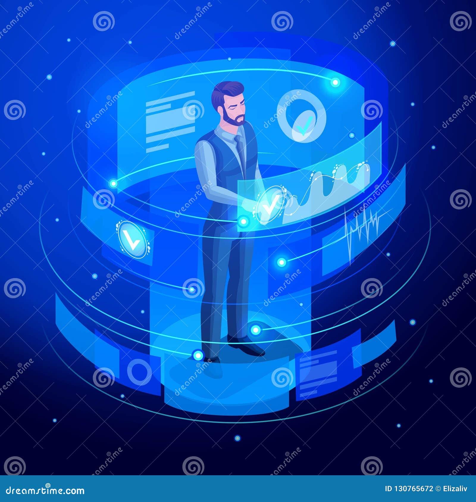 等量商人工作虚屏,观看关于销售和销售日程表的报告 高科技