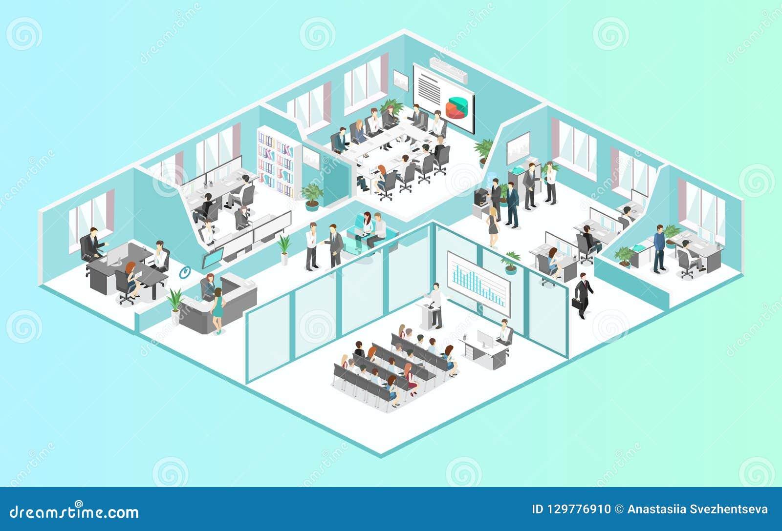 等量平的3d摘要办公室地板内装部概念传染媒介