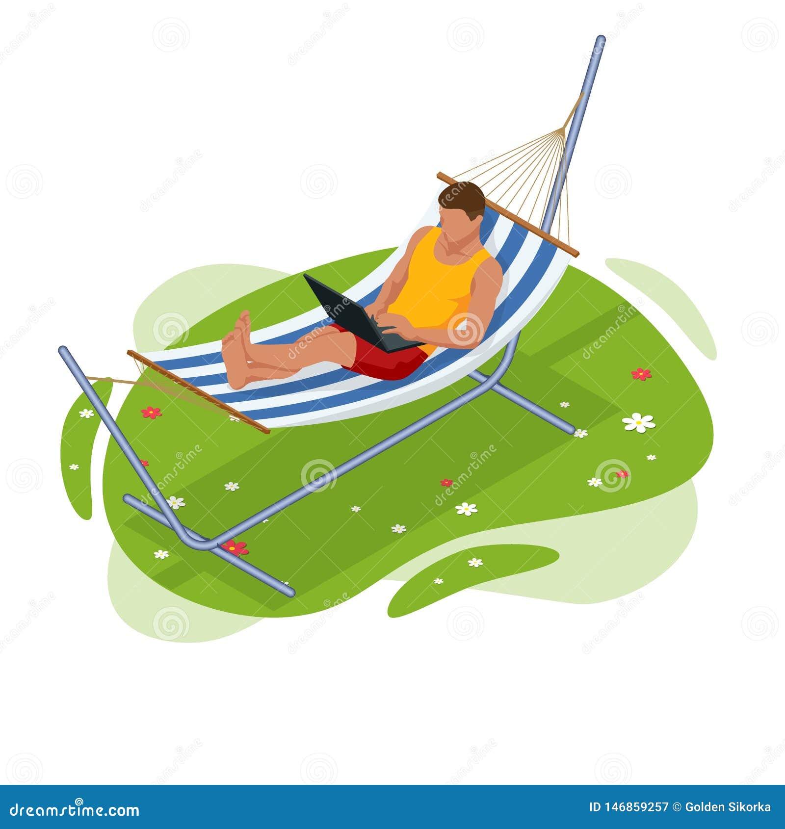 等量庭院吊床 放松在吊床在夏天庭院里