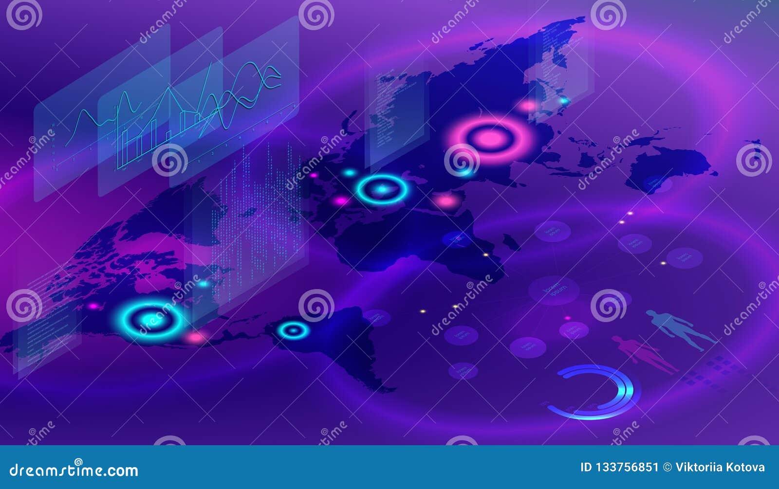 等量数字世界地图 结束人口的概念 全球性地图的传染媒介例证在等量样式的在紫罗兰色背景