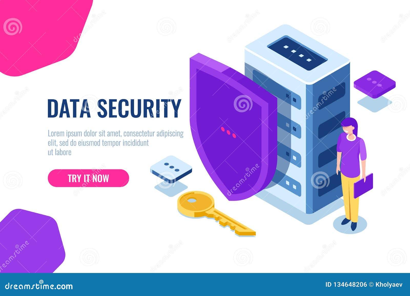 等量的数据保密,与盾的数据库象和钥匙,数据锁定,安全个人支持,有膝上型计算机的妇女