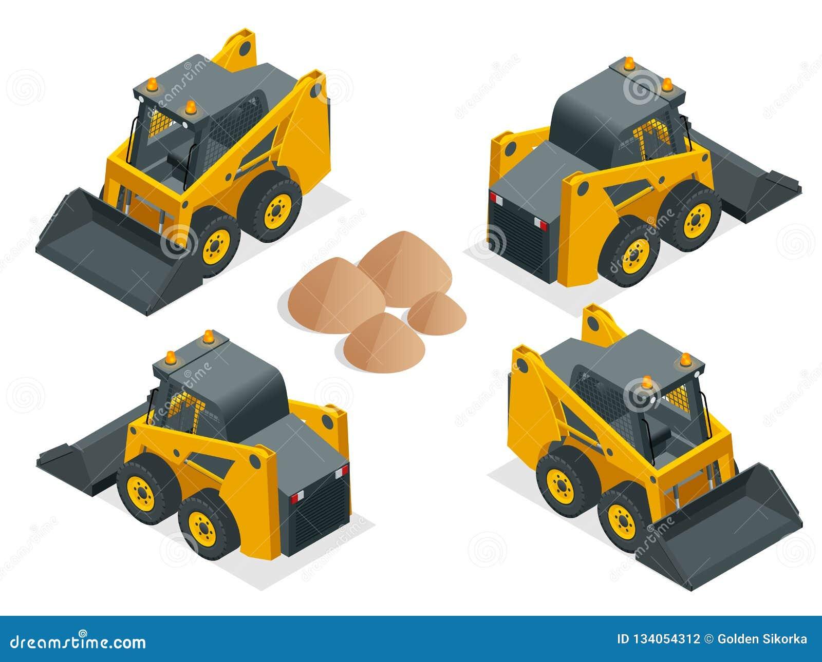 等量紧凑挖掘机 在白色背景隔绝的橙色轮子操舵装载者