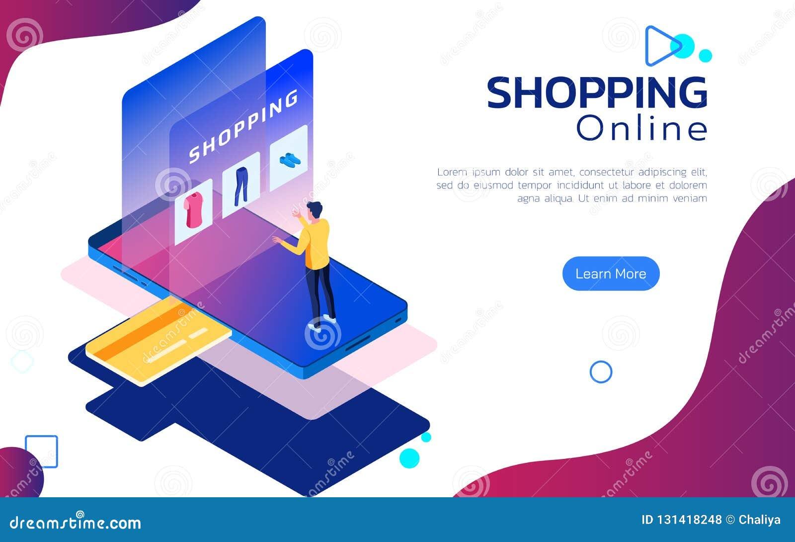 等量网上购物 在智能手机的人立场在屏幕前面顾客应用网络购物的 移动购物