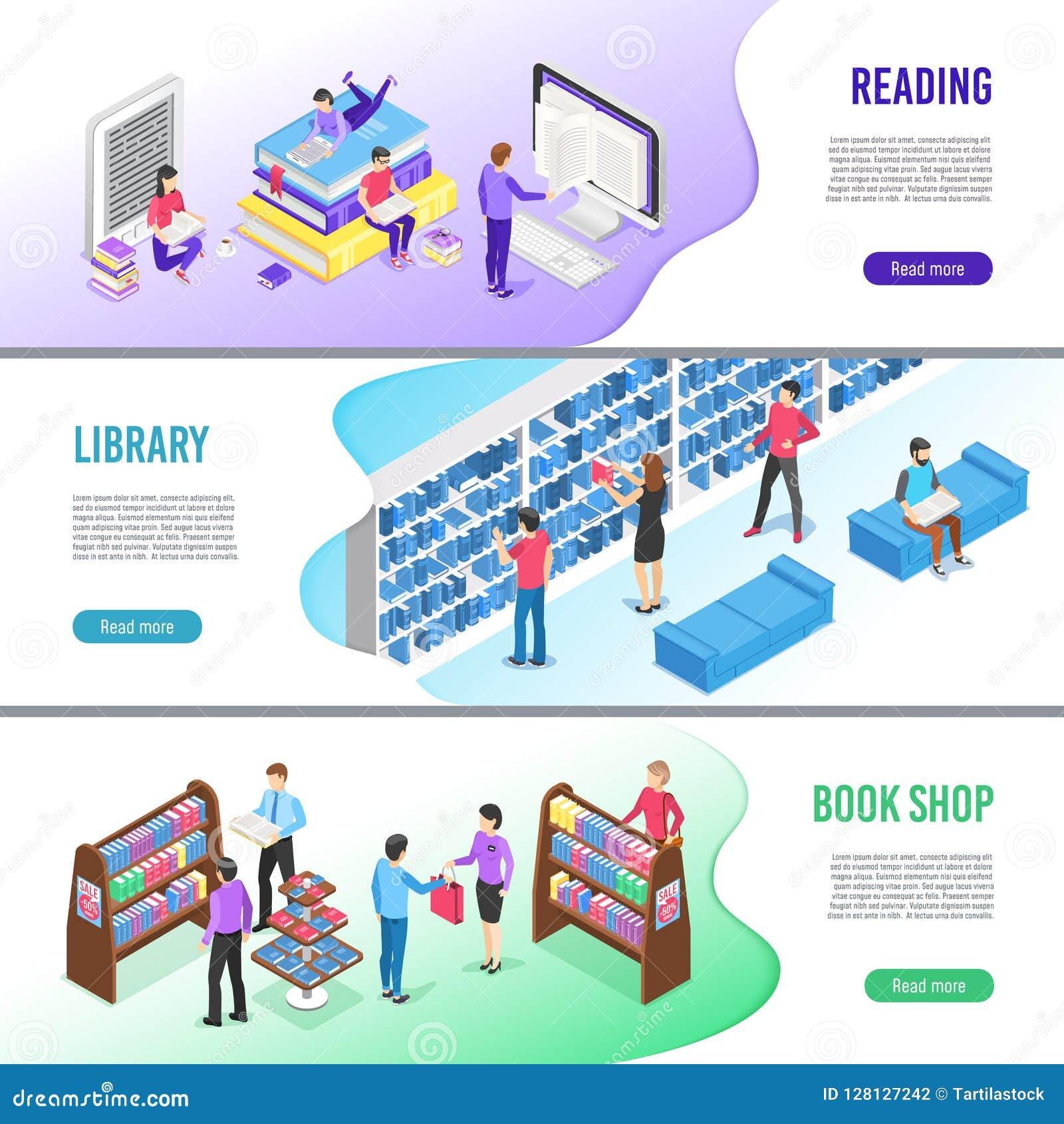 等量读的书横幅 网上图书馆预定与书签,读ebook和研究课本传染媒介横幅