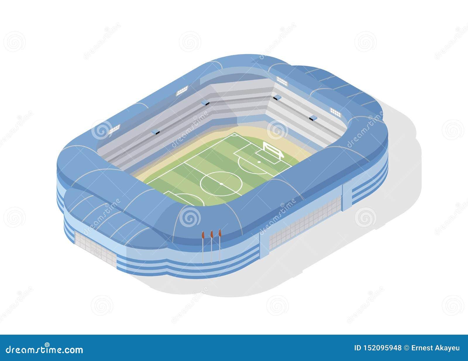 等量足球场 在白色背景隔绝的现代橄榄球竞技场 运动会比赛地点、大厦或者结构为