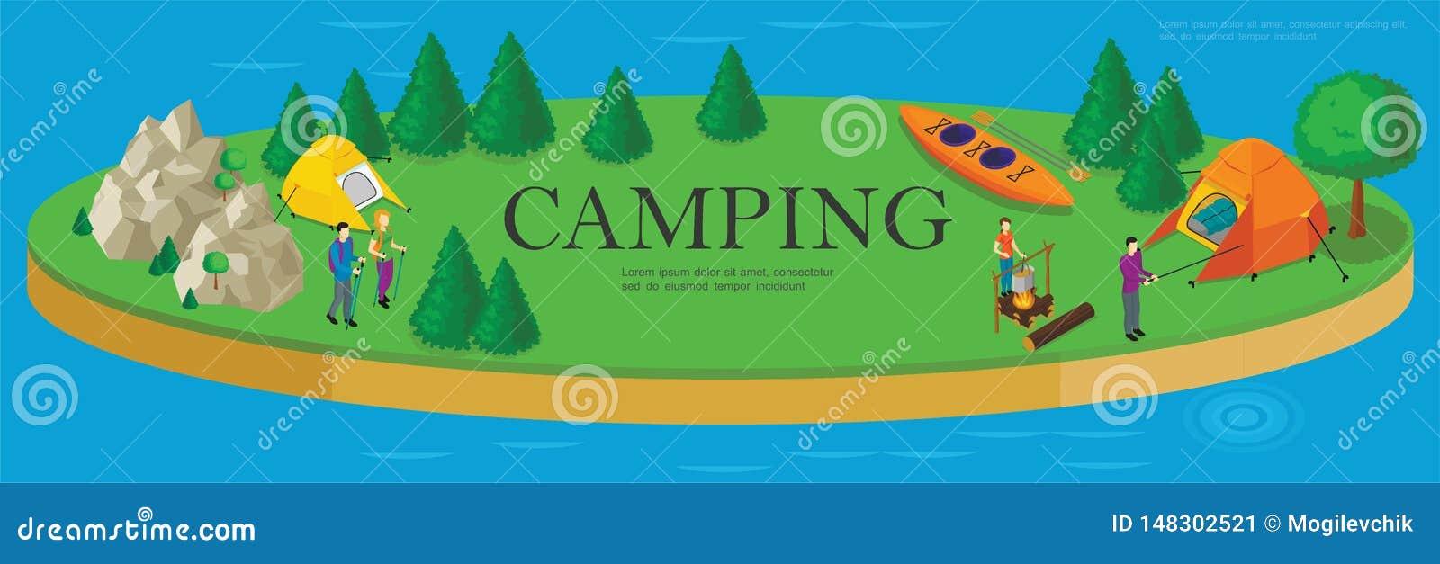 等量野营的和远足的模板