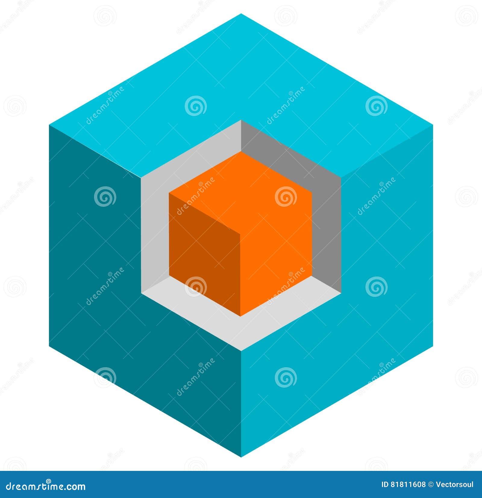 等量3d duotone概念性立方体象 st的几何立方体
