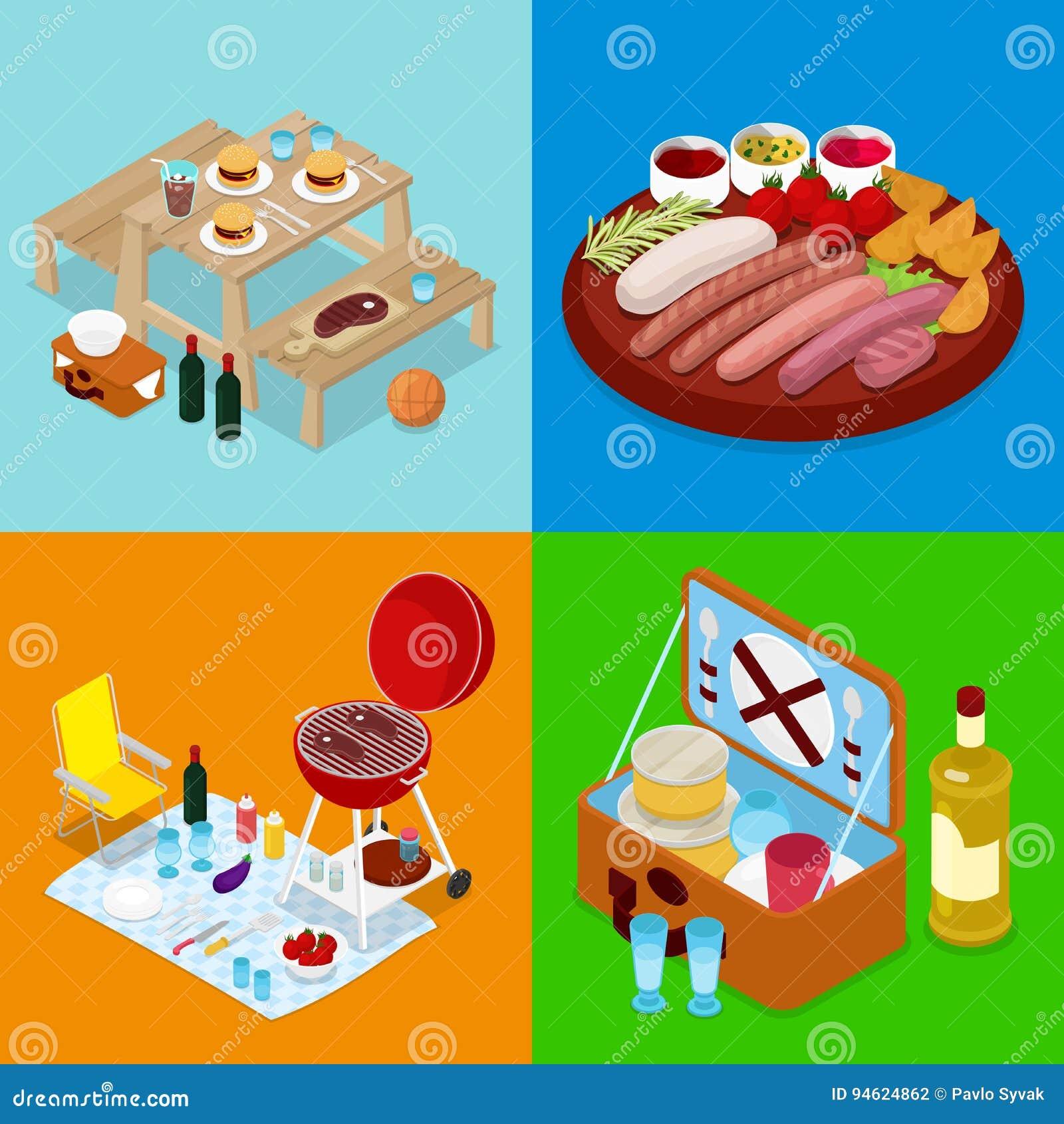 等量BBQ野餐食物 暑假阵营 烤肉、酒和菜