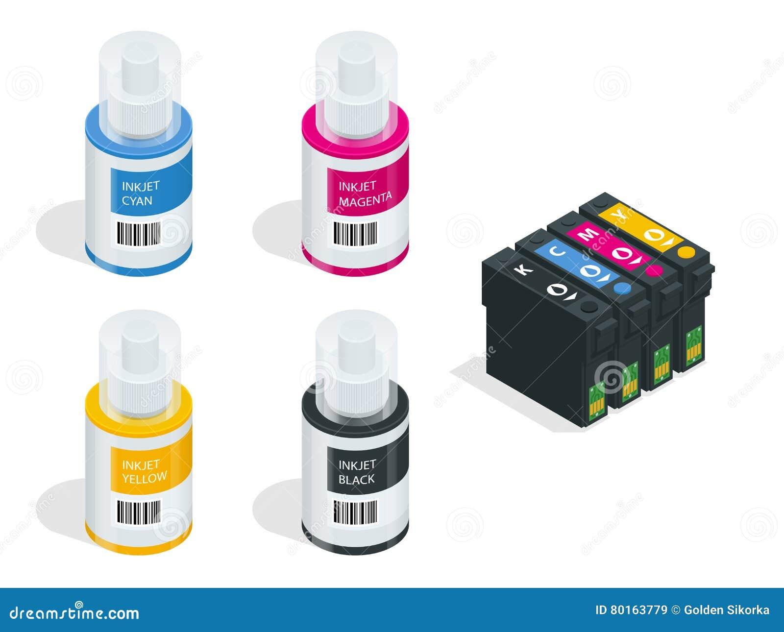 等量CMYK套喷墨打印机和颜色图表的弹药筒 颜色喷墨机的空的适于再装的弹药筒