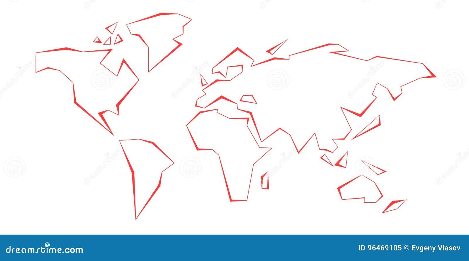 等高大陆 例证映射旧世界 线路红色 模板 也corel凹道例证向量 美国,欧洲,大西洋,澳大利亚,亚洲,加拿大