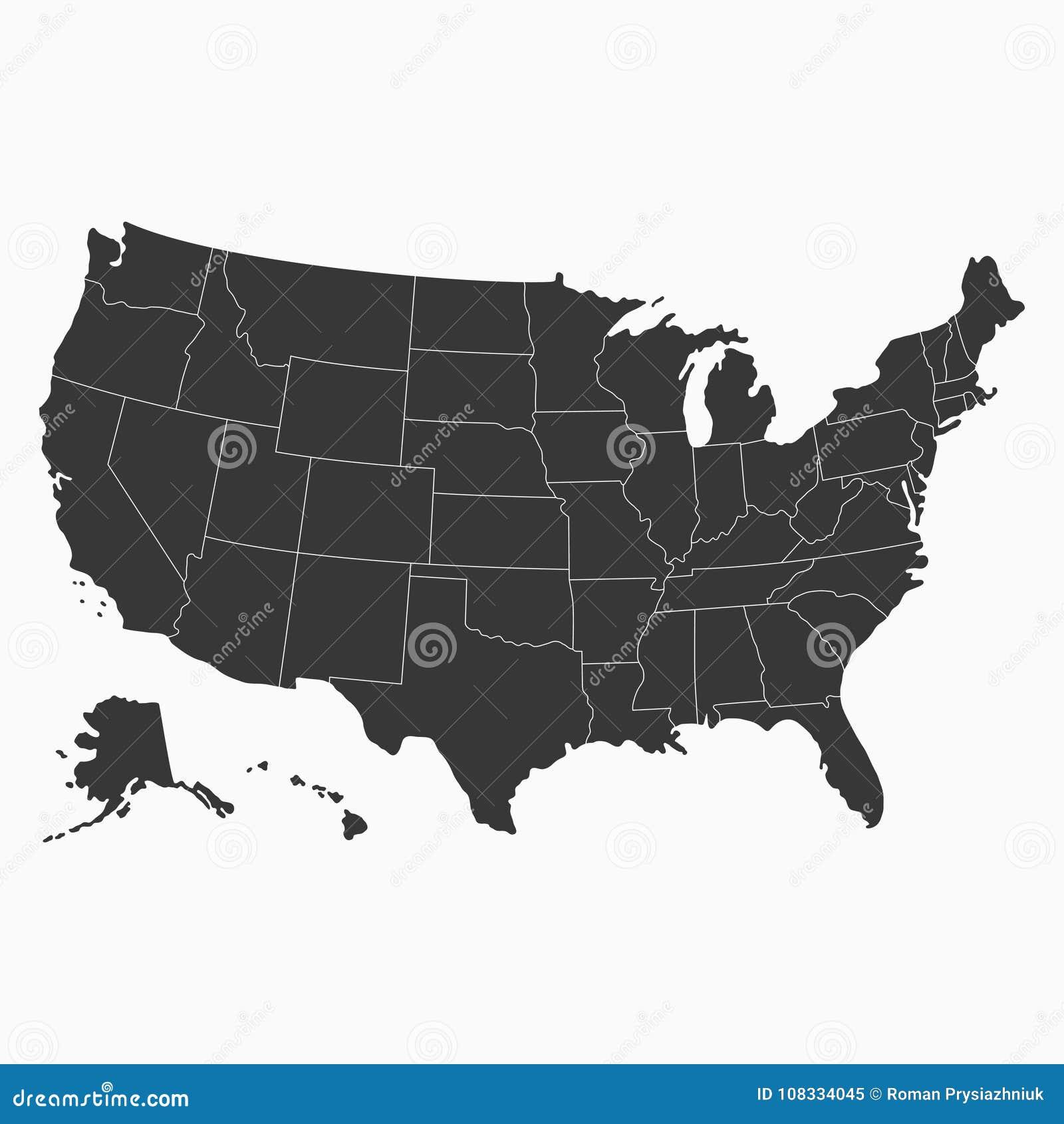 等高线图分级显示指明美国 美国的空白的地图 向量