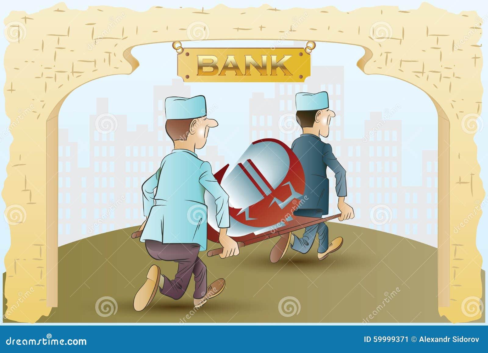 建筑在向量之下的例证股票 滑稽的护士从担架货币符号图片