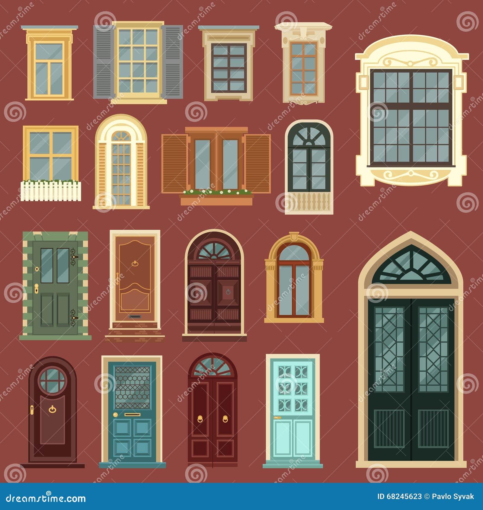 建筑套欧洲葡萄酒门和Windows