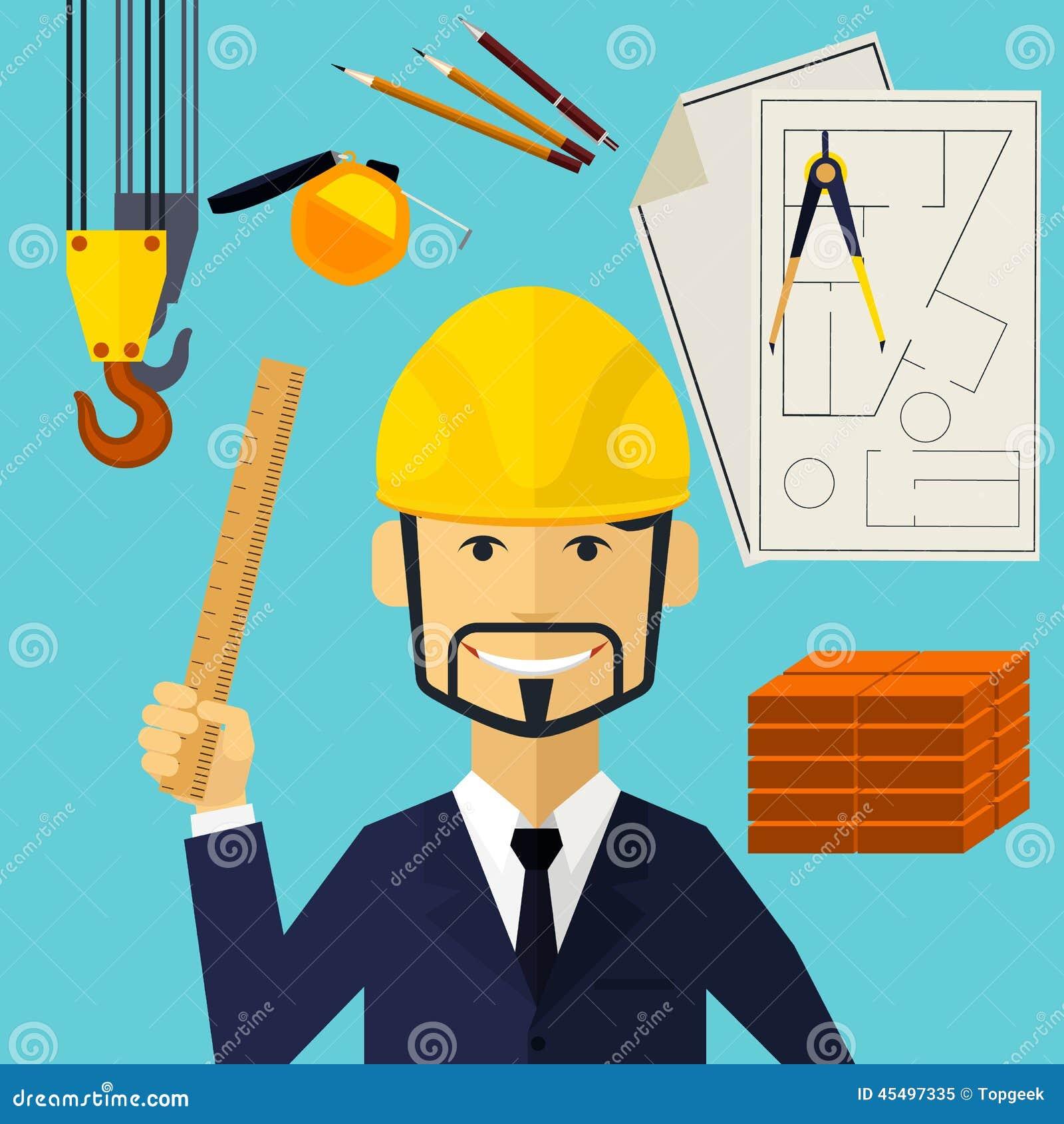 建筑师建设者工作者在他的工作地点