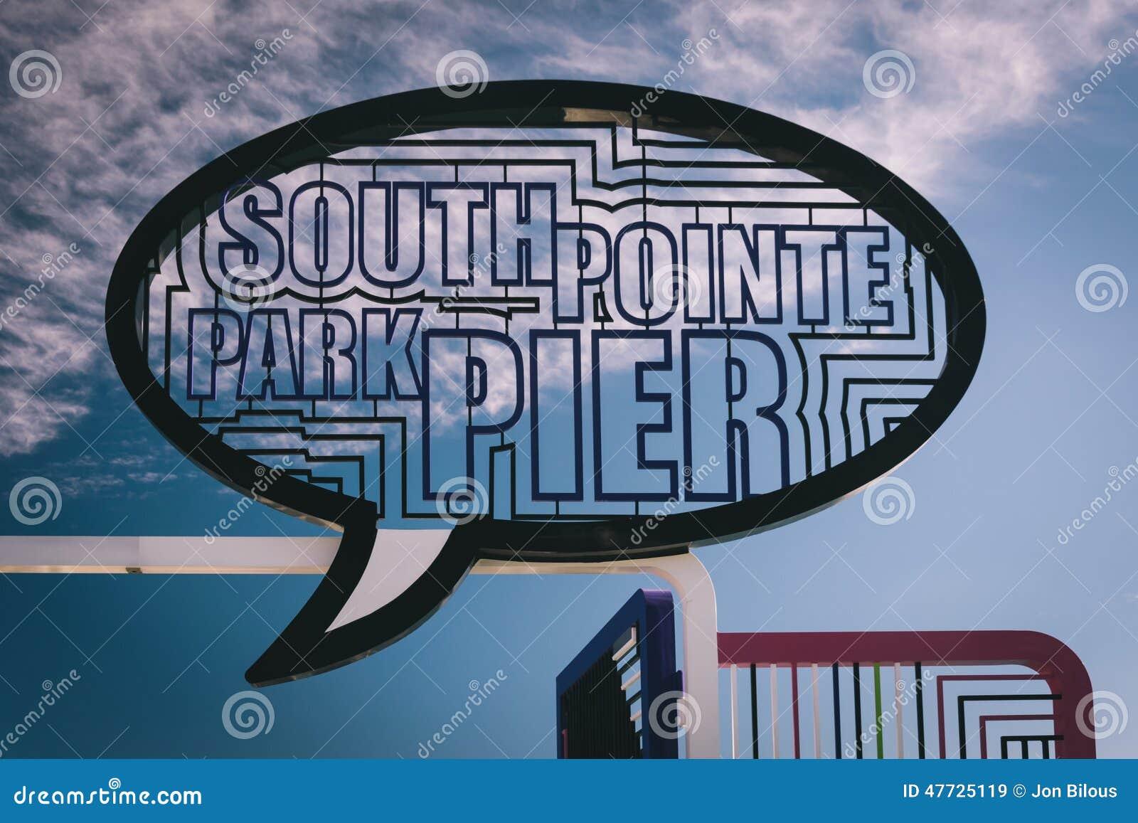 签字在渔码头在南Pointe公园,迈阿密海滩,弗洛尔