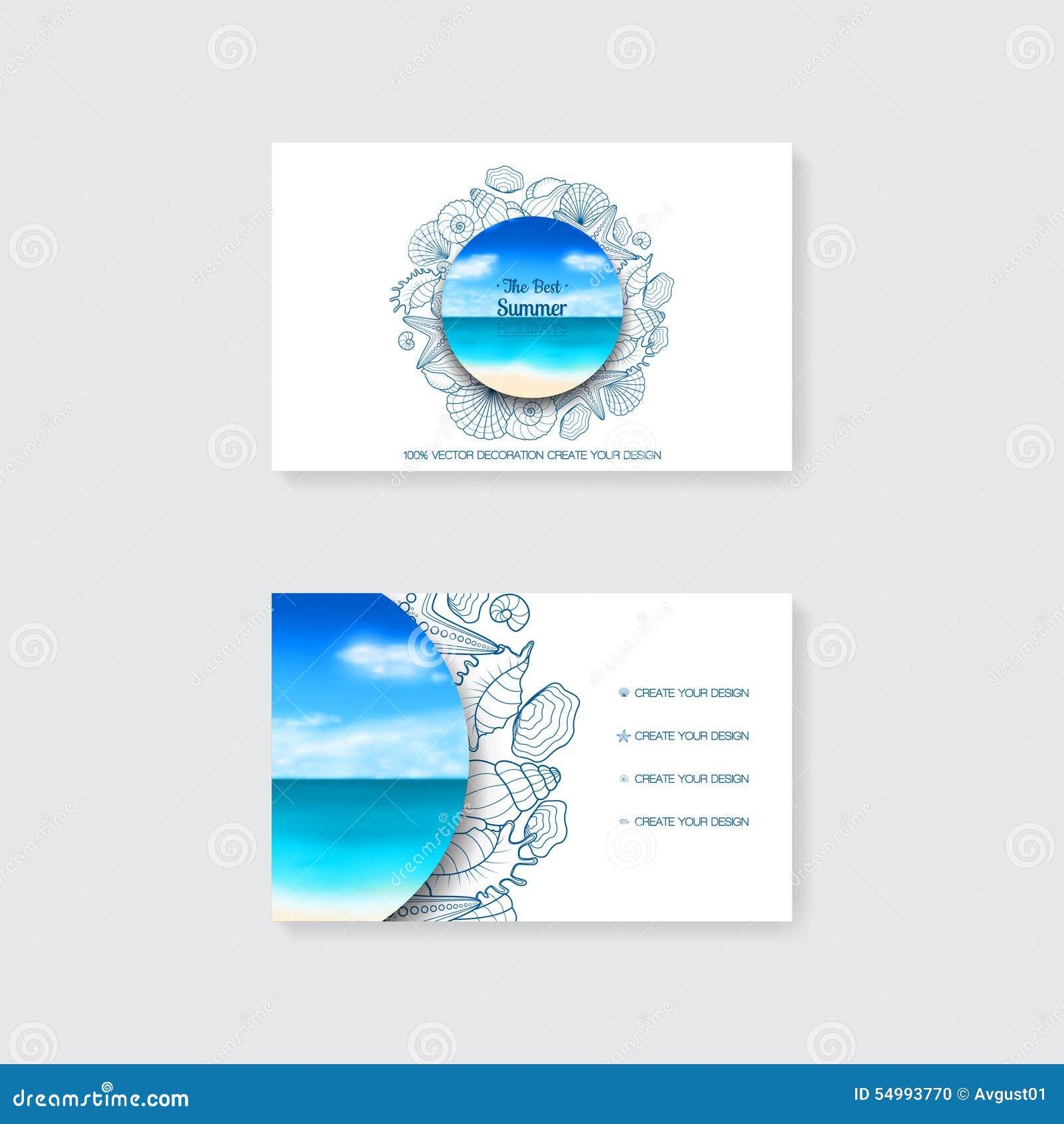 简单的名片模板与装饰装饰品、海星和贝壳的