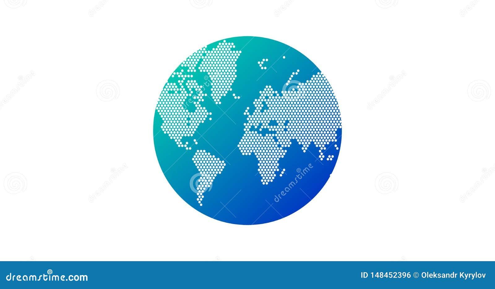 简单的地球形状,从在白色背景的小点创造的世界地图 全球性连接概念