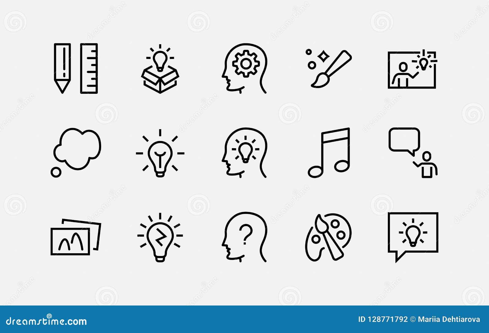 简单的套创造性相关传染媒介线象 包含这样象象启发、想法,脑子和更多 编辑可能的冲程 48x
