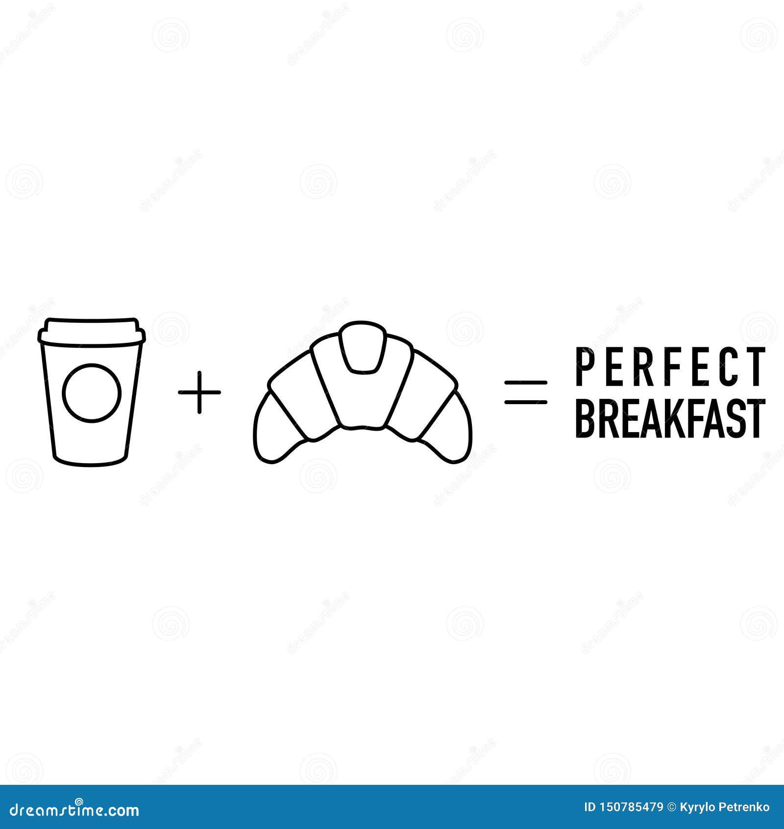 简单的早晨算术咖啡加上新月形面包均等