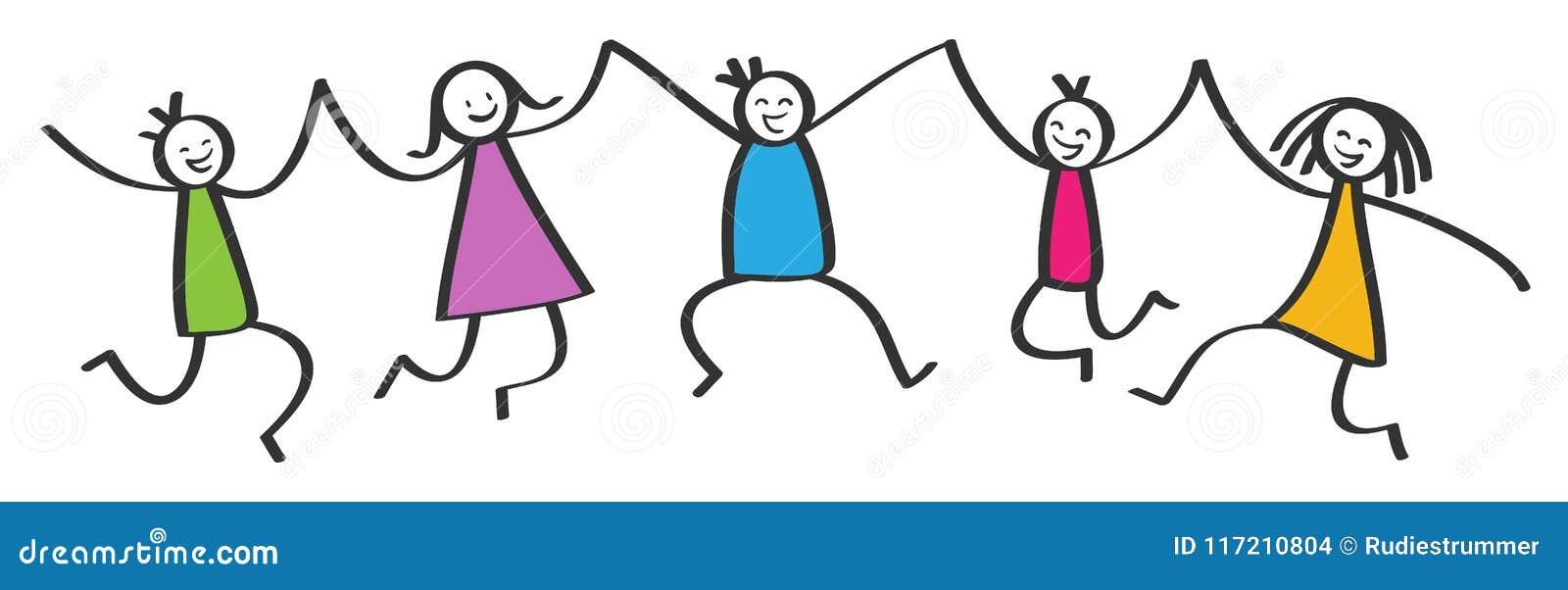 简单的棍子形象,跳跃五个愉快的五颜六色的孩子,举行手,微笑和笑