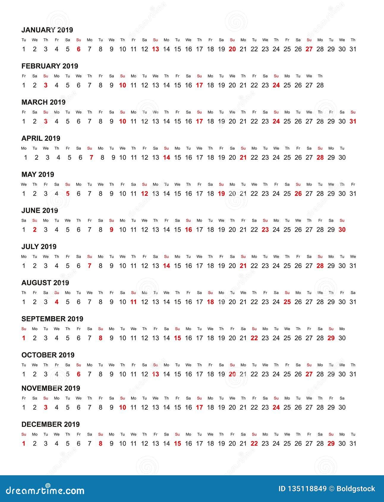 简单的水平的日历模板年2019年
