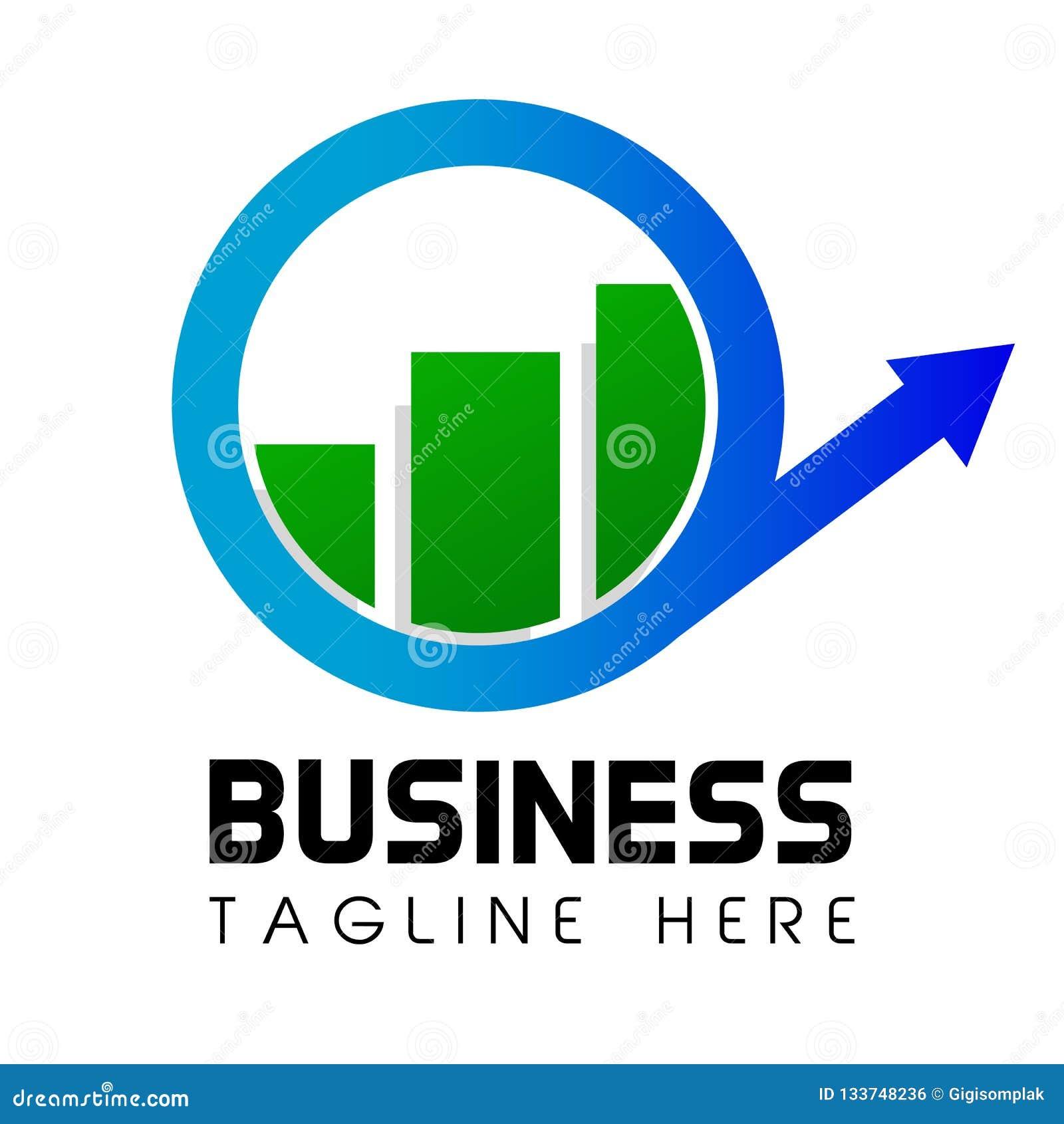 简单的走路的Cirle箭头和酒吧商标事务或投资安置了公司