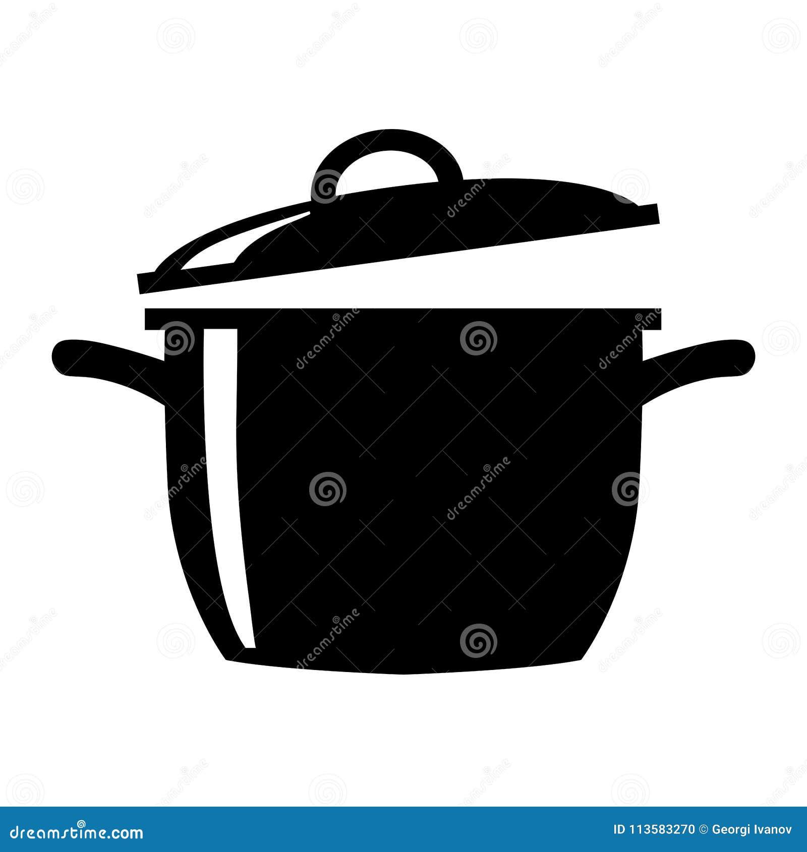简单,平,黑白烹调罐剪影例证