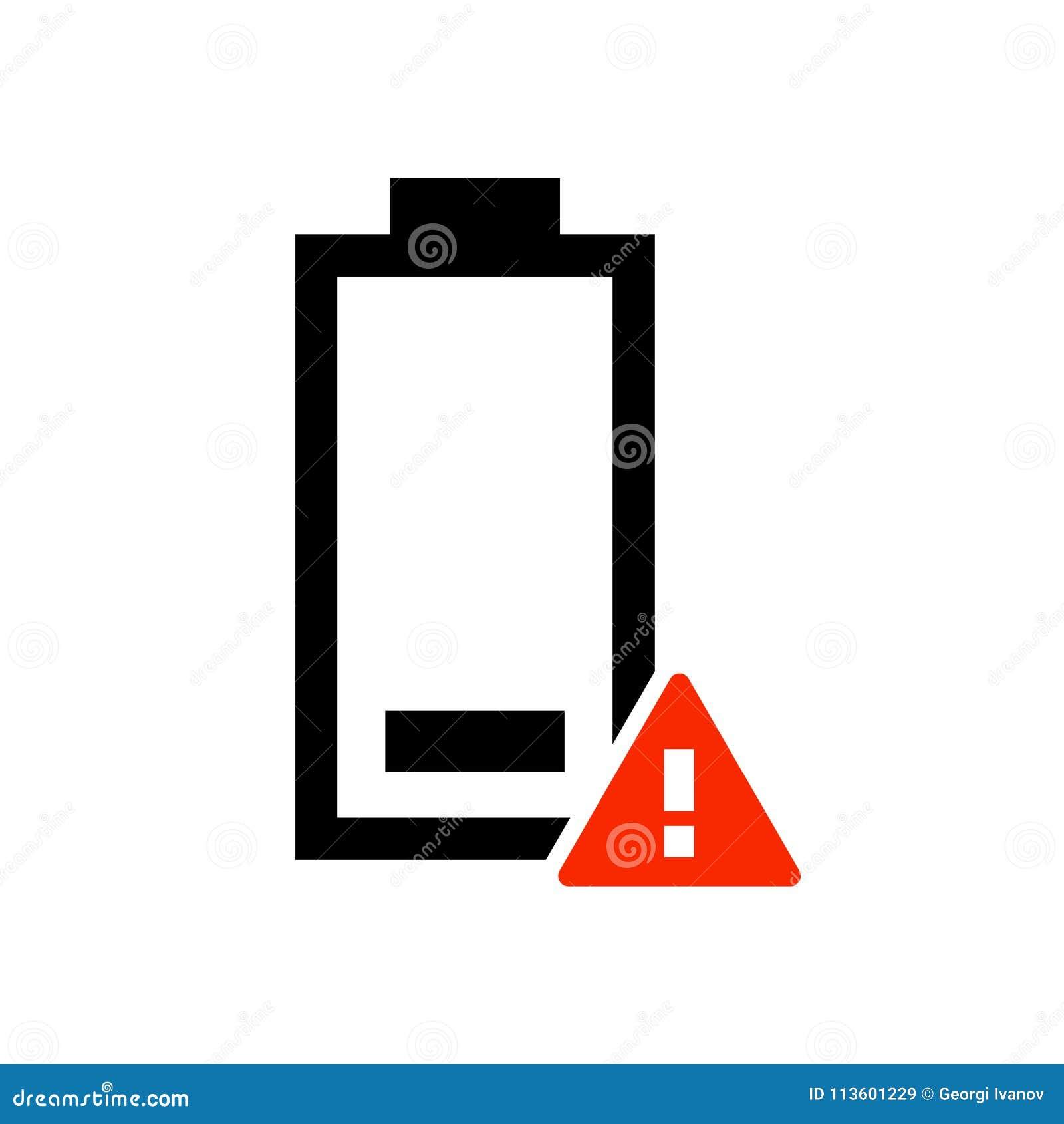 简单,浅黑和红色低电池警告象 查出在白色