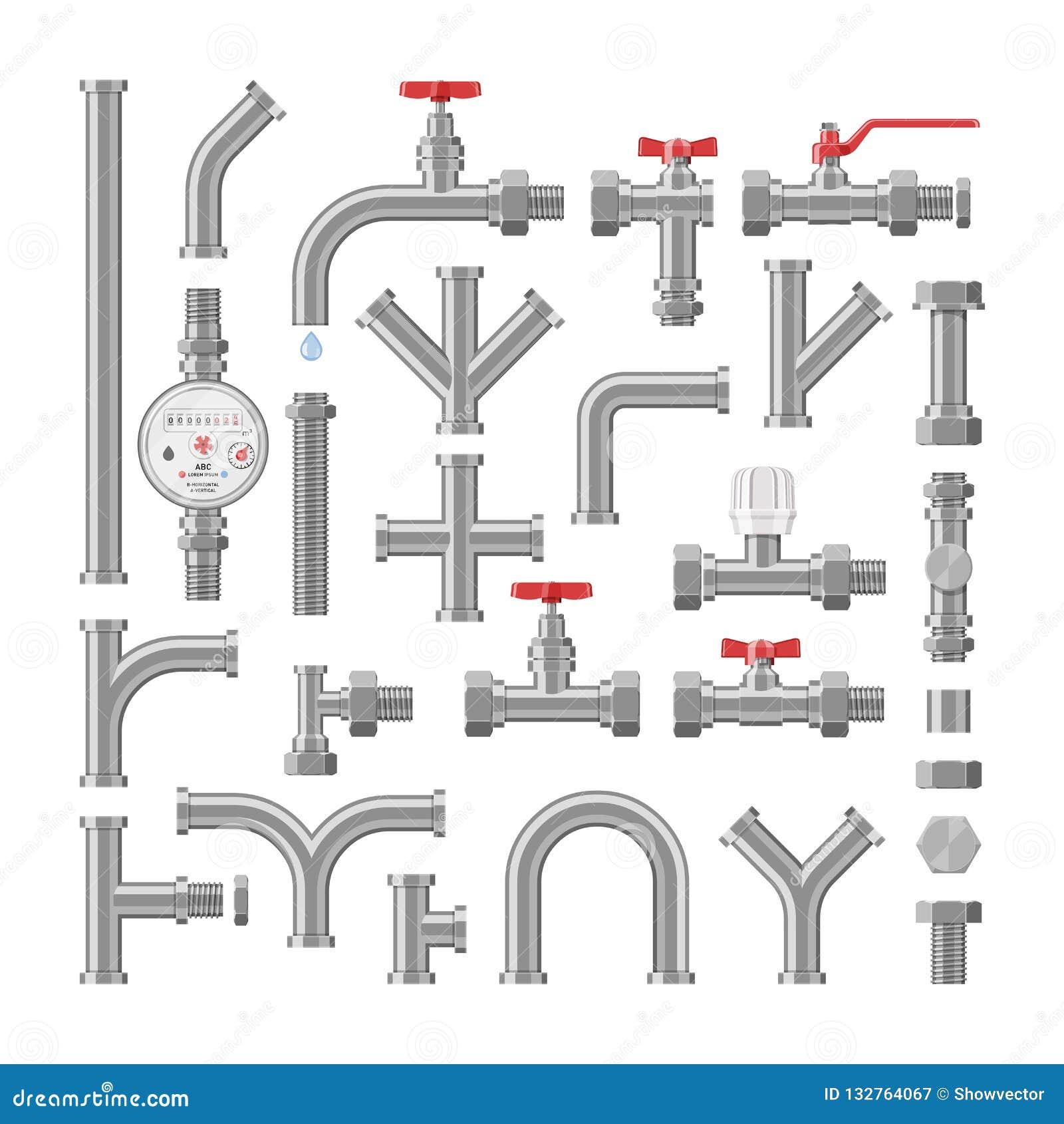 管子传染媒介配管管道或金属管道系统例证工业套的用管道输送的管材建筑金属