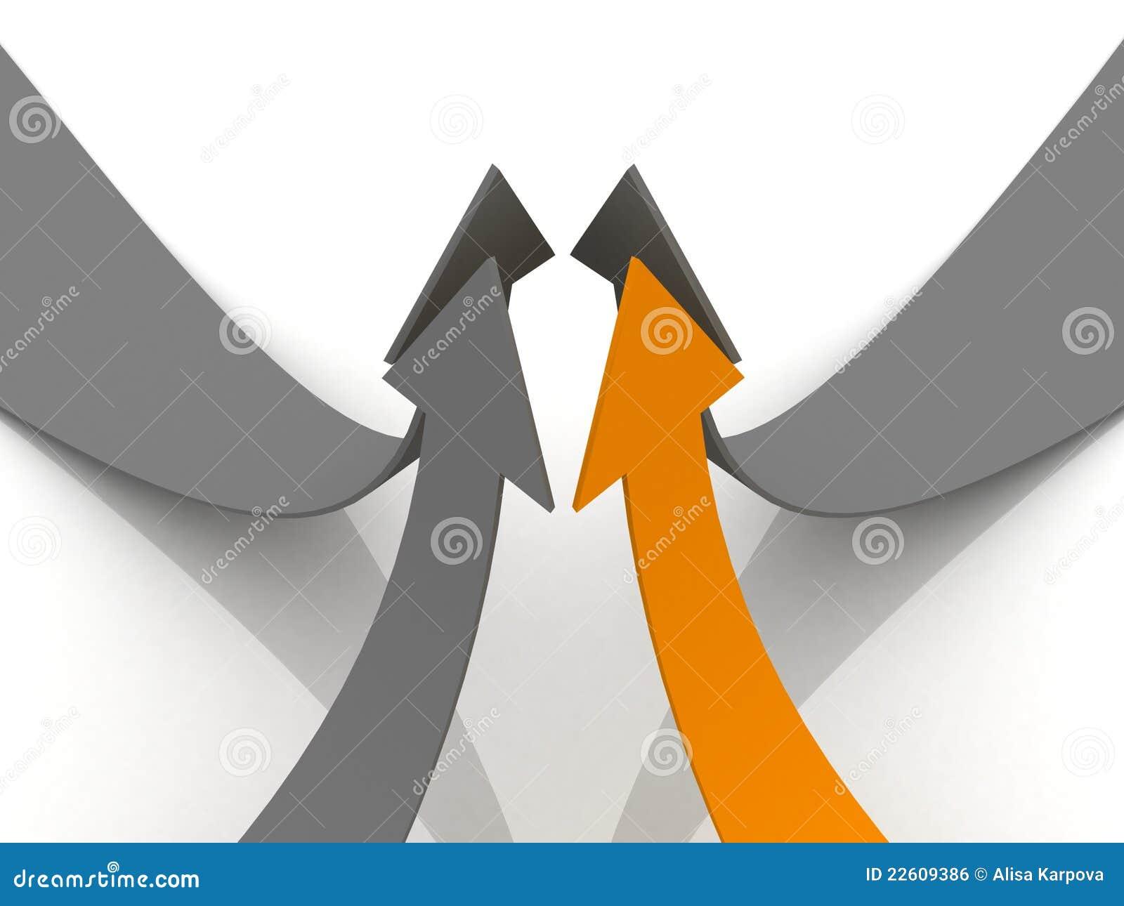 箭头概念灰色领导先锋橙色配合