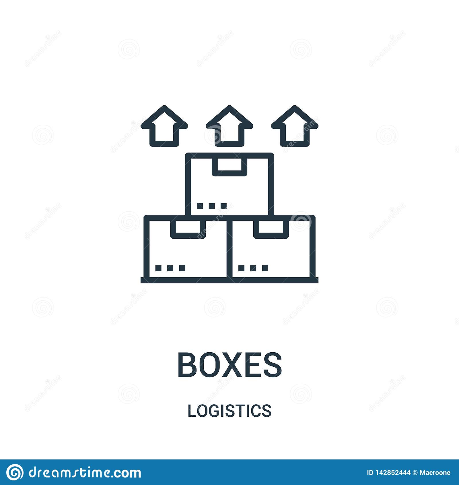 箱子从后勤学汇集的象传染媒介 稀薄的线箱子概述象传染媒介例证 线性标志为在网的使用和