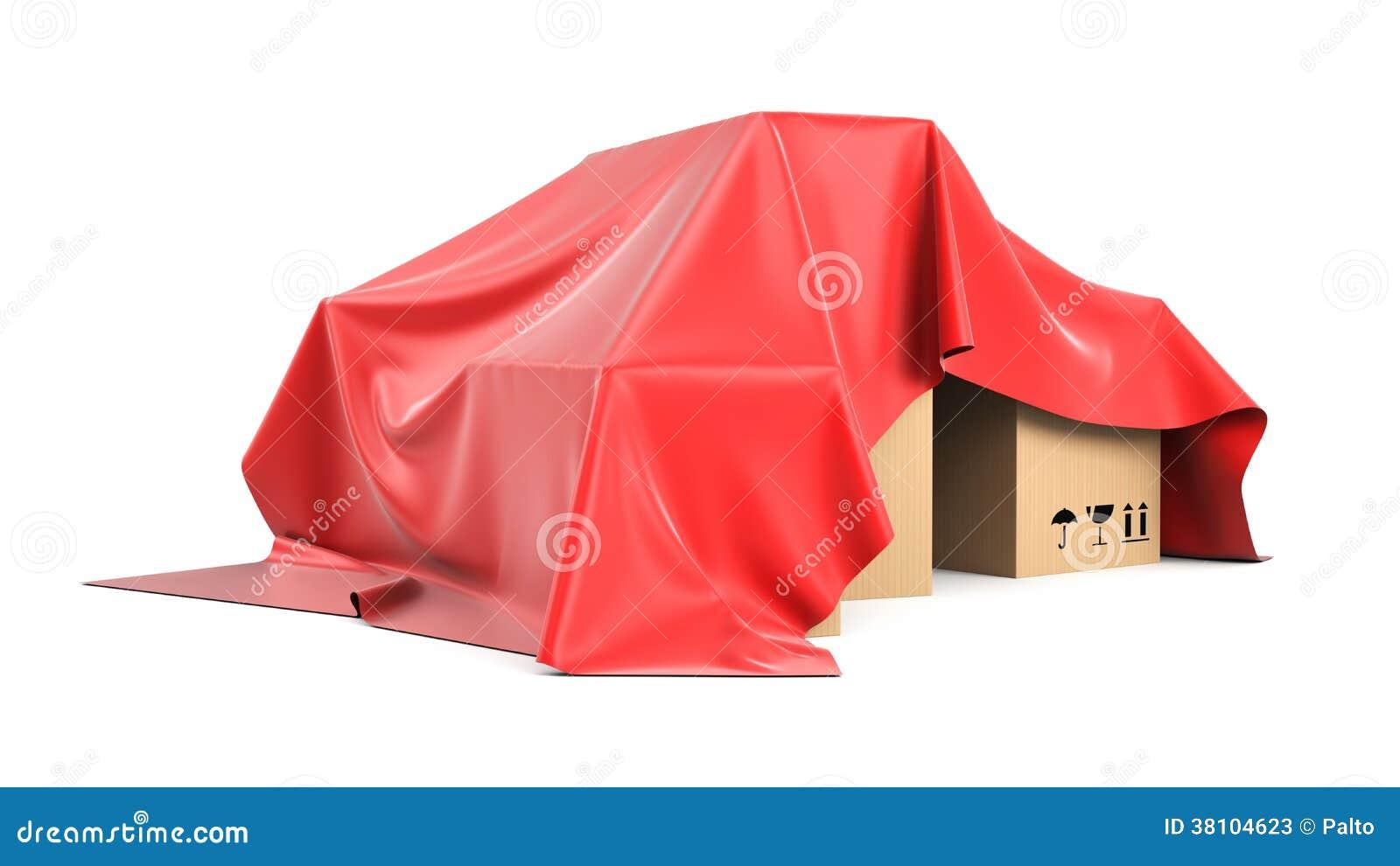 箱子被盖从一块红色丝绸布料上