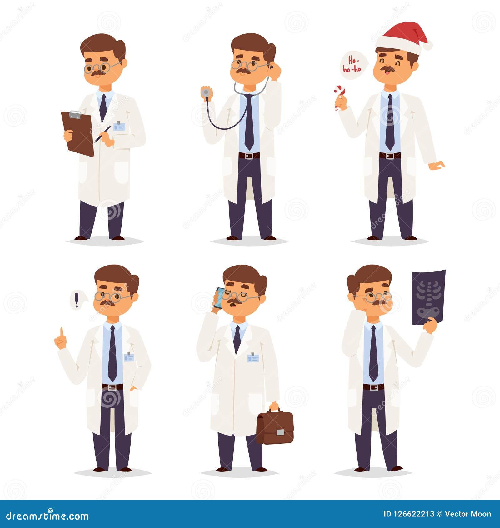 篡改护士字符传染媒介医生职员平的设计医院队人博士学位例证