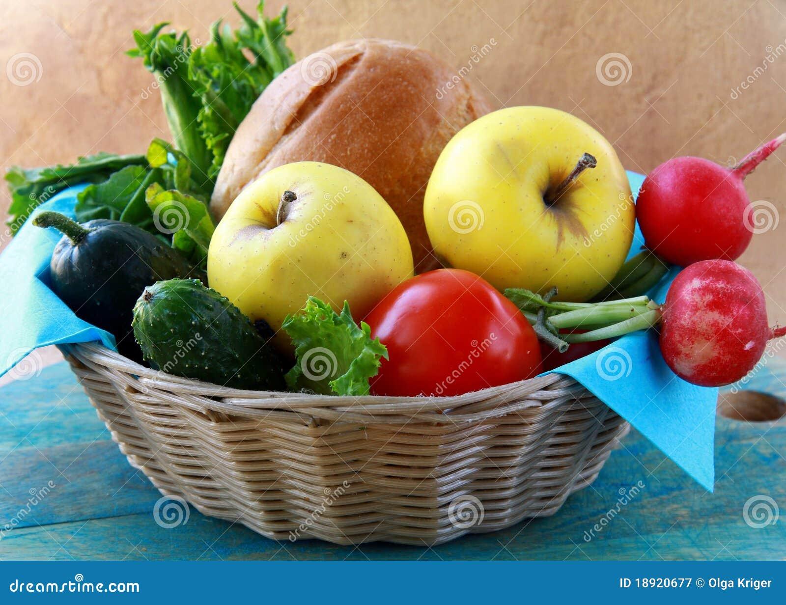 篮子面包食物新鲜水果充分的野餐蔬菜.图片